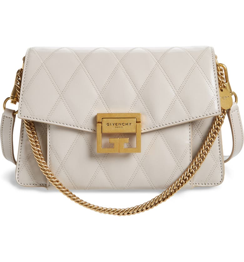 5534ebea21 Shop Givenchy Small Gv3 Diamond Quilted Leather Crossbody Bag In Natural