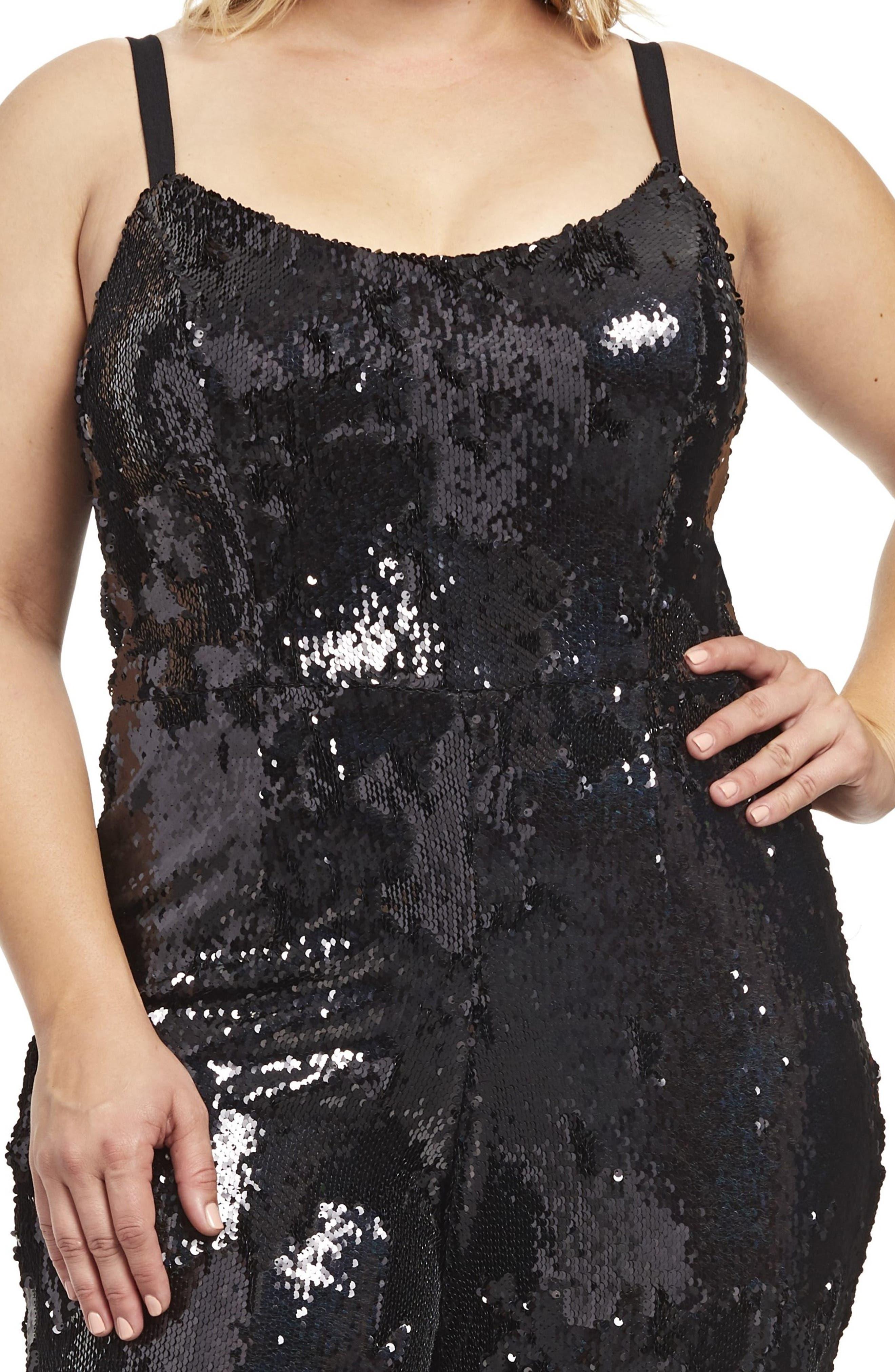 Victoria Sequin Jumpsuit,                             Alternate thumbnail 4, color,                             BLACK PEARL