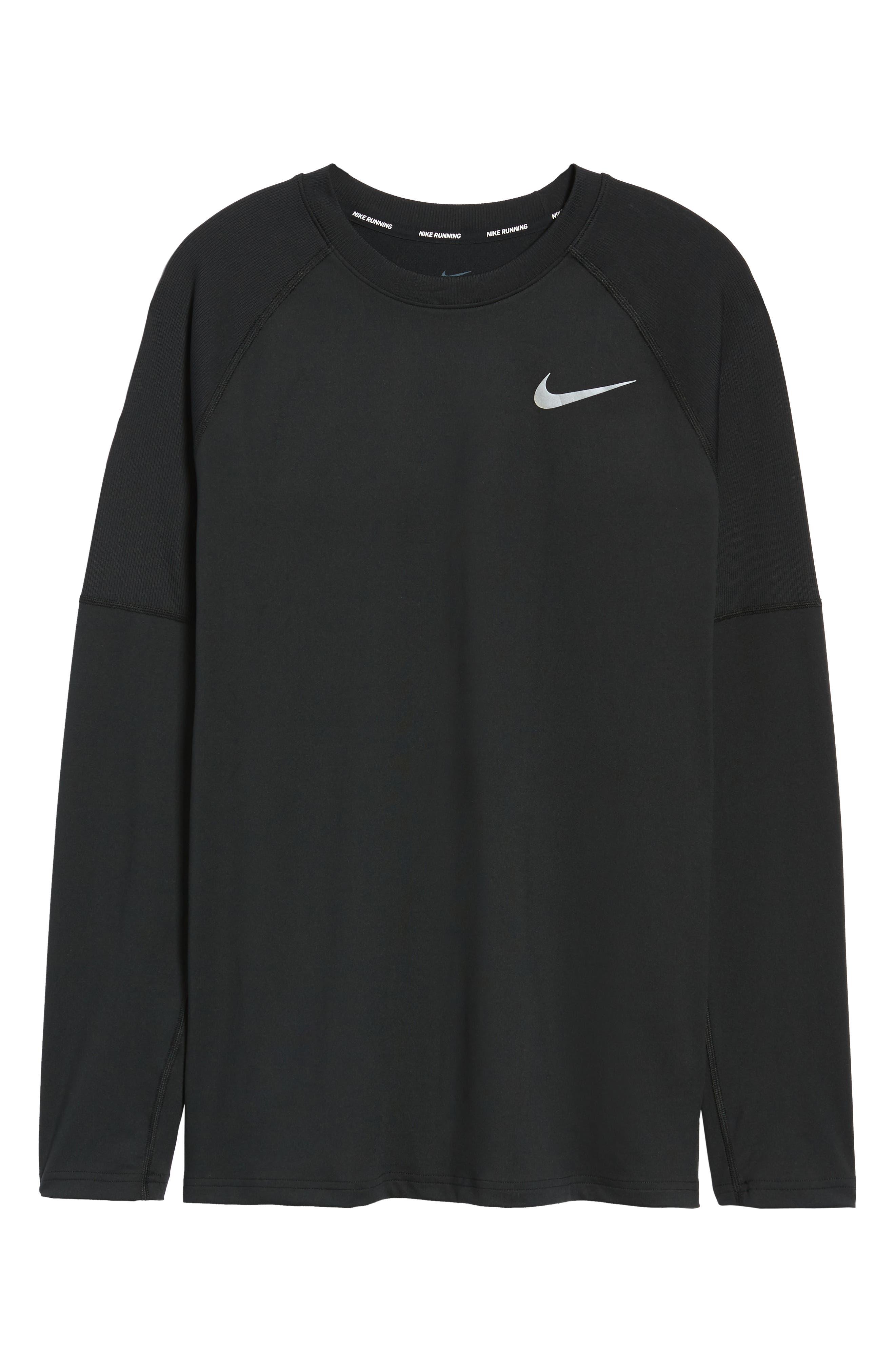 NIKE,                             Element Dry Crewneck Running T-Shirt,                             Alternate thumbnail 6, color,                             BLACK