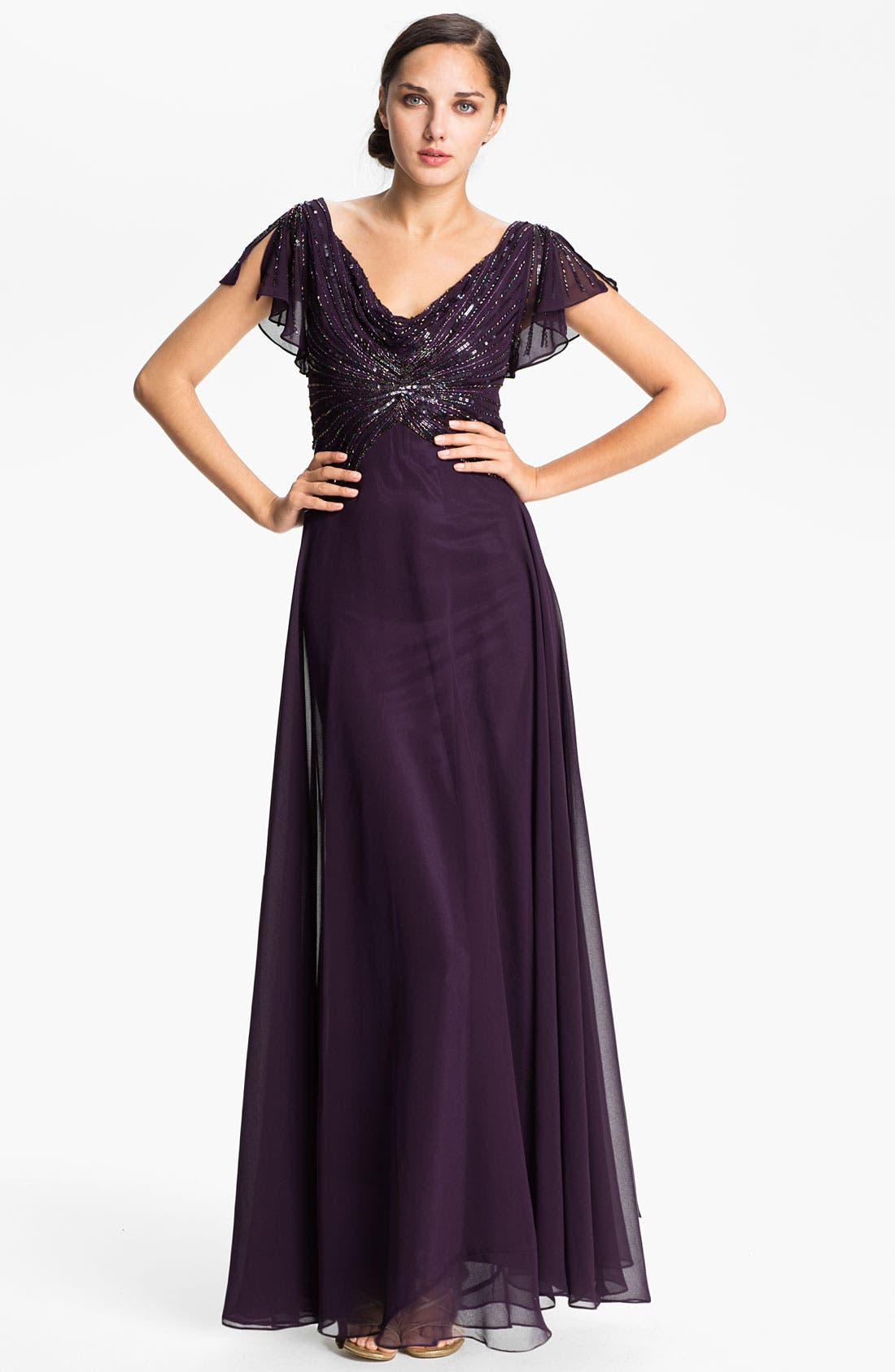Embellished Drape Bodice Chiffon Gown,                         Main,                         color, 500