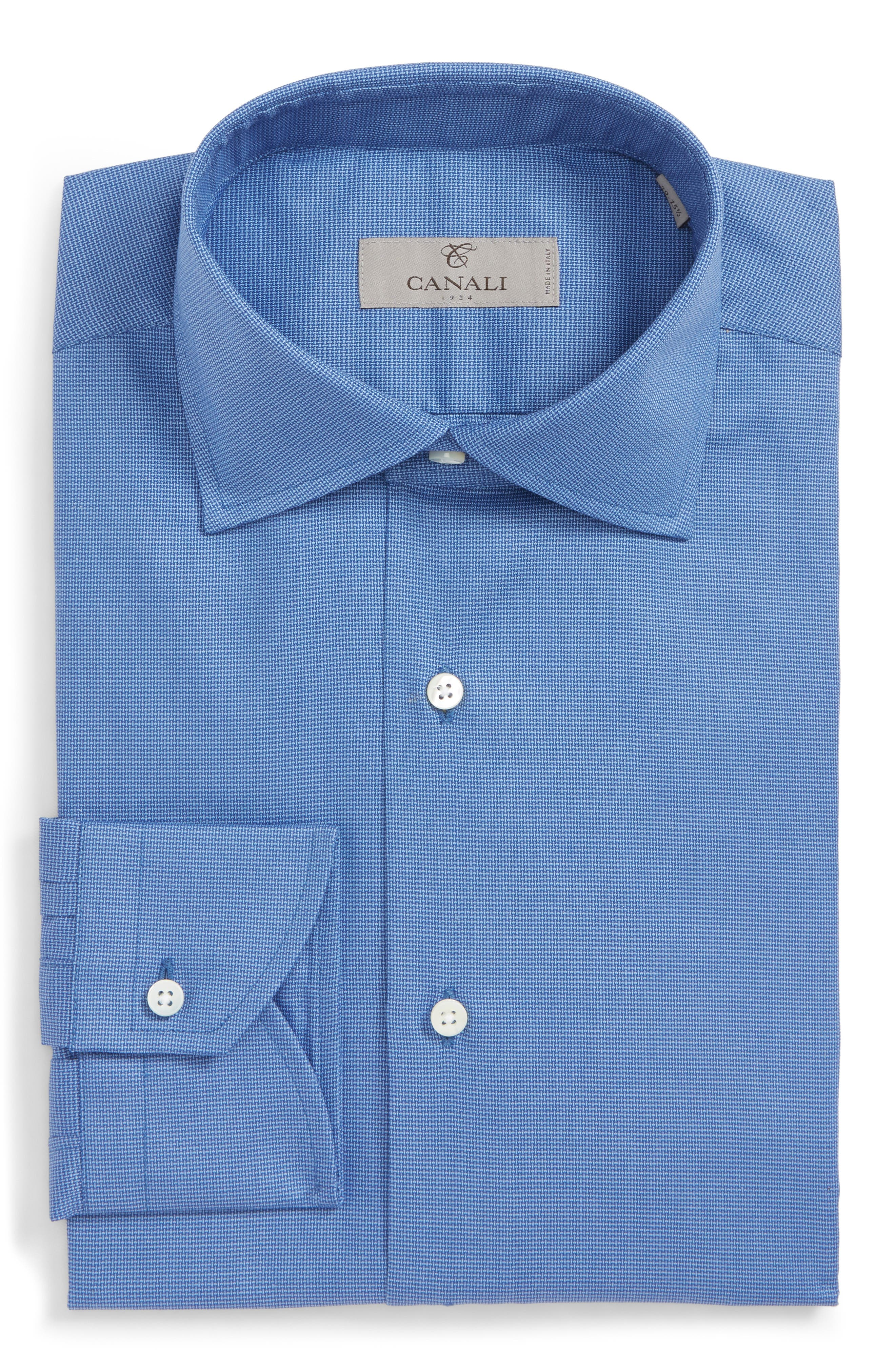 Trim Fit Dress Shirt,                             Alternate thumbnail 5, color,                             DARK BLUE