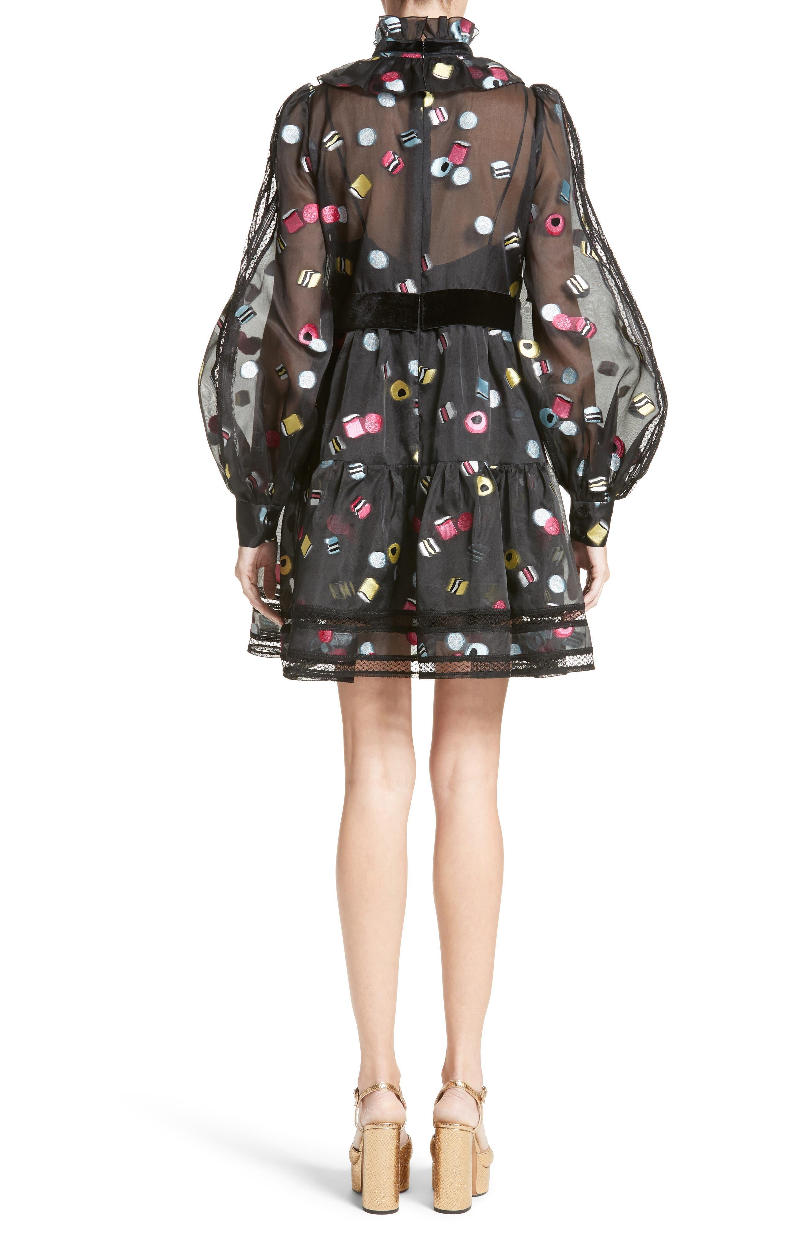 Licorice Fil Coupé Balloon Sleeve Dress,                             Alternate thumbnail 2, color,                             001