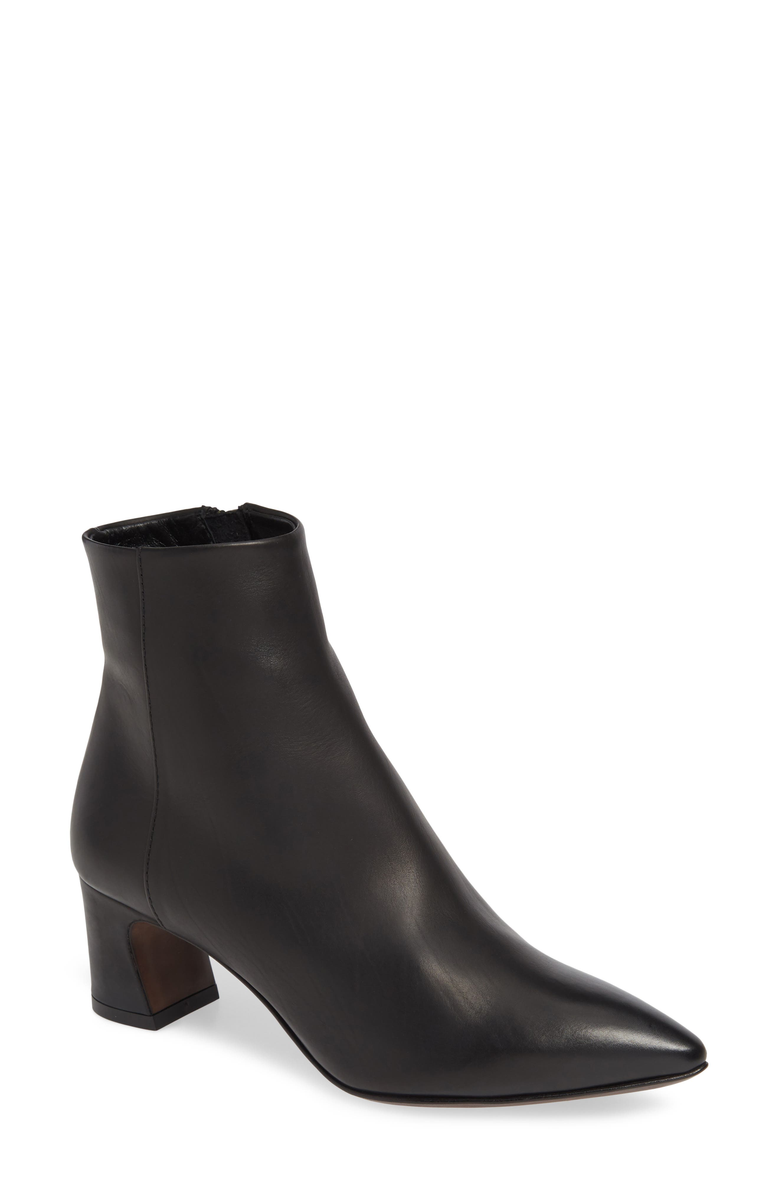 Pointy Toe Bootie,                             Main thumbnail 1, color,                             BLACK LEATHER