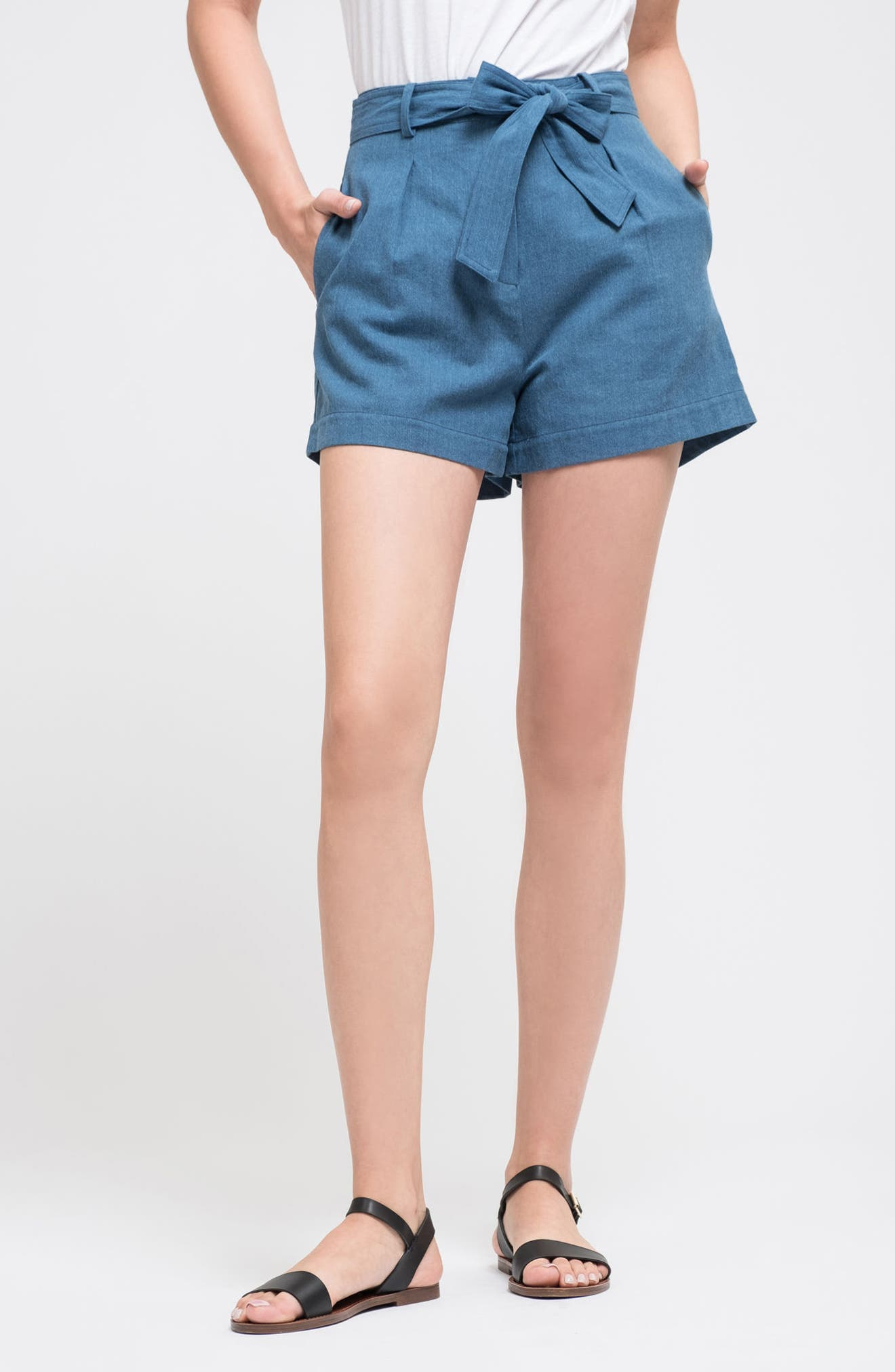 Tie Front Chambray Shorts,                             Alternate thumbnail 7, color,                             400