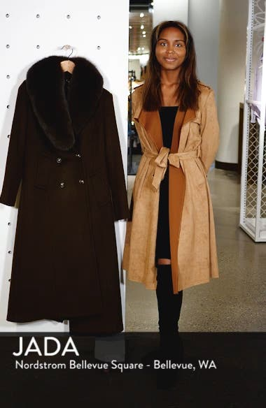 Double Breasted Military Wool Coat with Genuine Fox Fur Shawl, sales video thumbnail