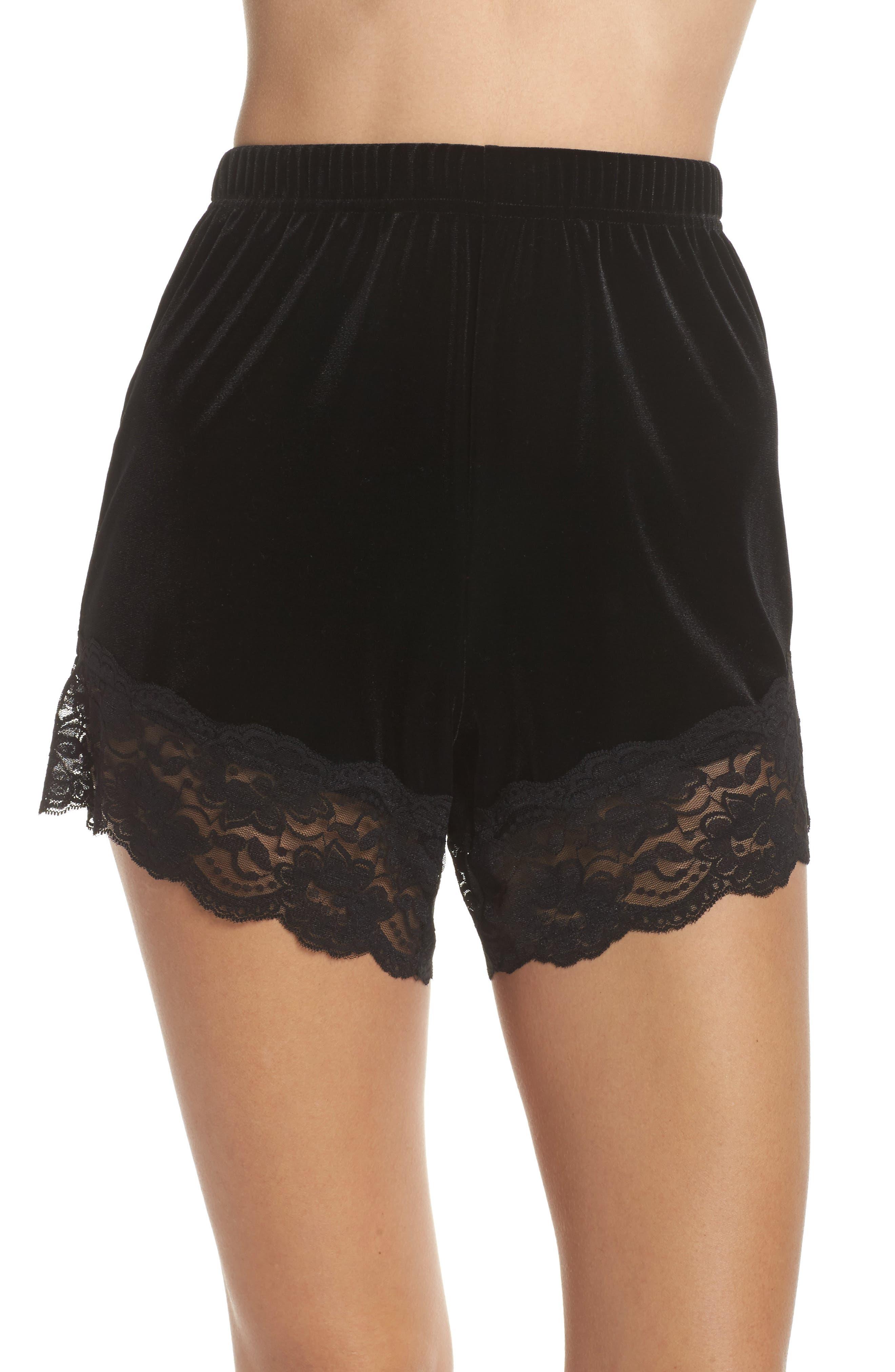 TOPSHOP,                             Lace Trim Velvet Lounge Shorts,                             Main thumbnail 1, color,                             001