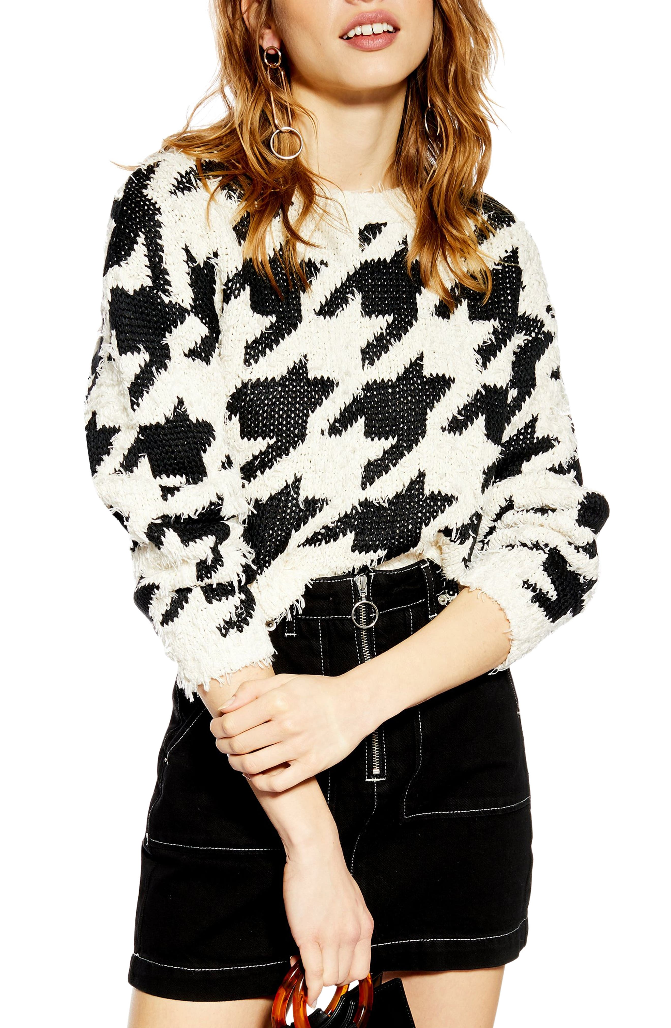 TOPSHOP,                             Dogtooth Sweater,                             Main thumbnail 1, color,                             BLACK MULTI