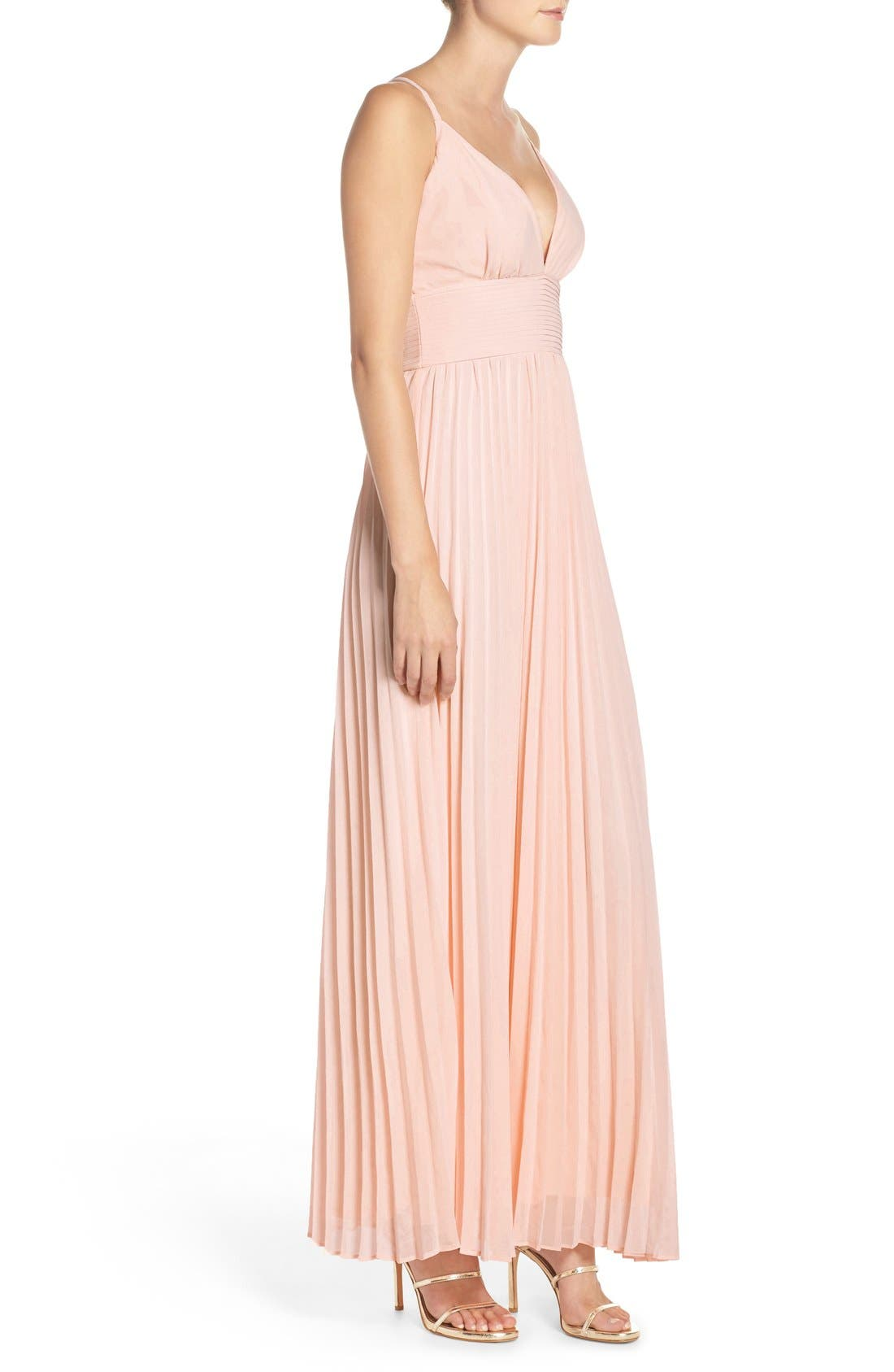 Plunging V-Neck Pleat Georgette Gown,                             Alternate thumbnail 35, color,