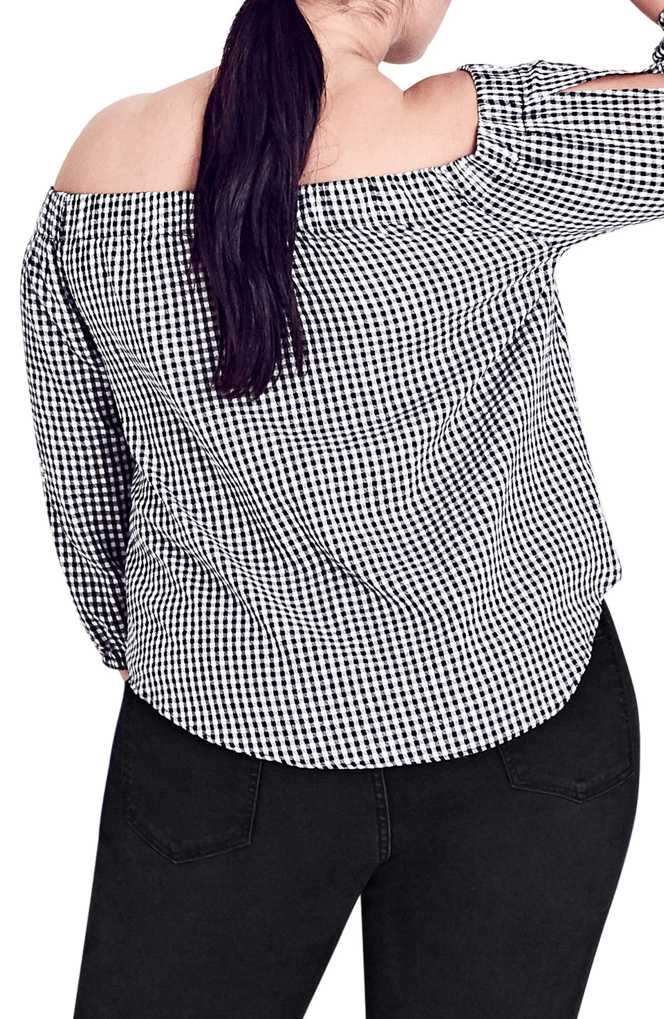 Gingham Off the Shoulder Top,                             Alternate thumbnail 2, color,                             BLACK / WHITE