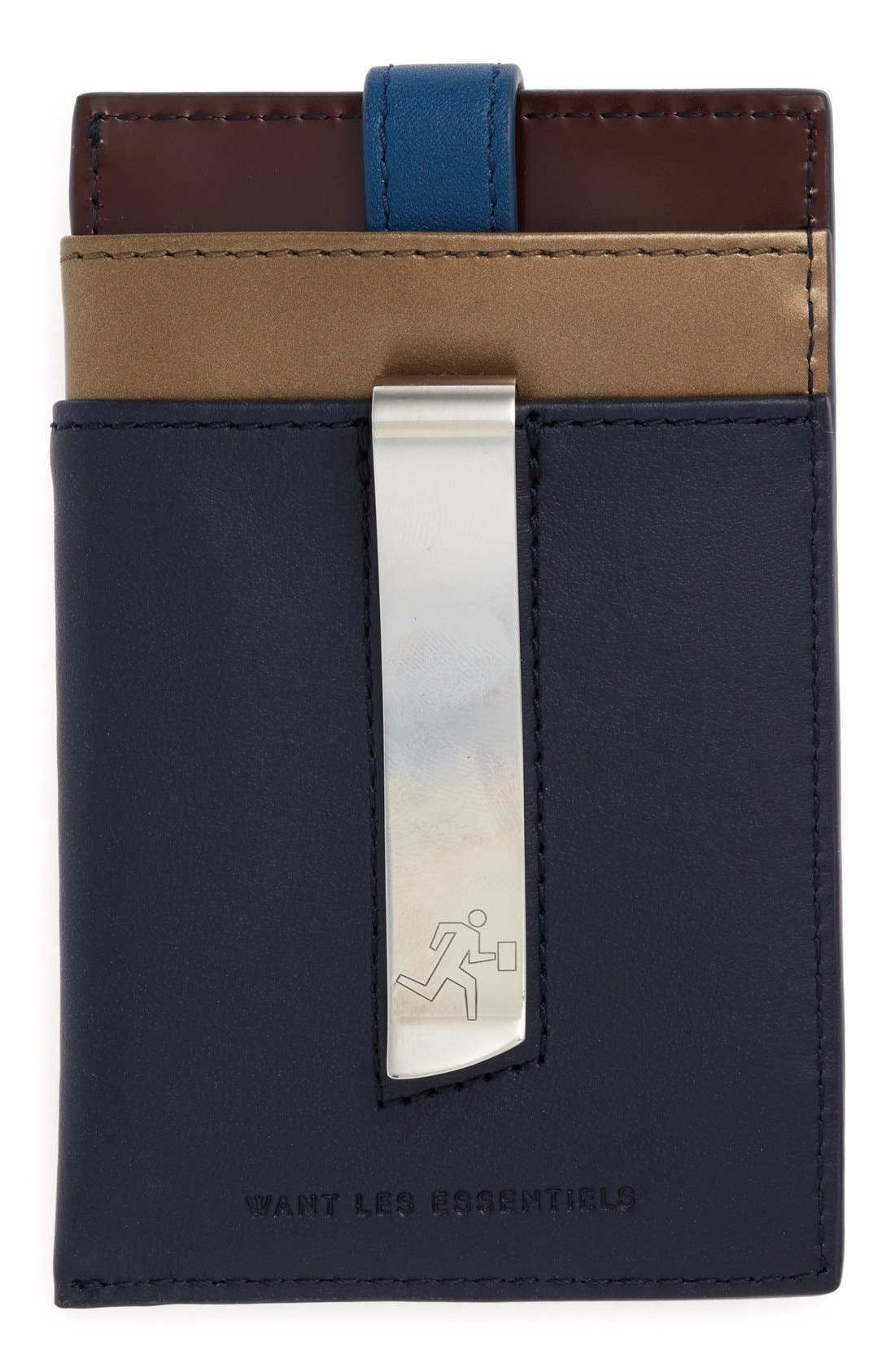 'Kennedy' Leather Money Clip Card Case,                             Alternate thumbnail 9, color,