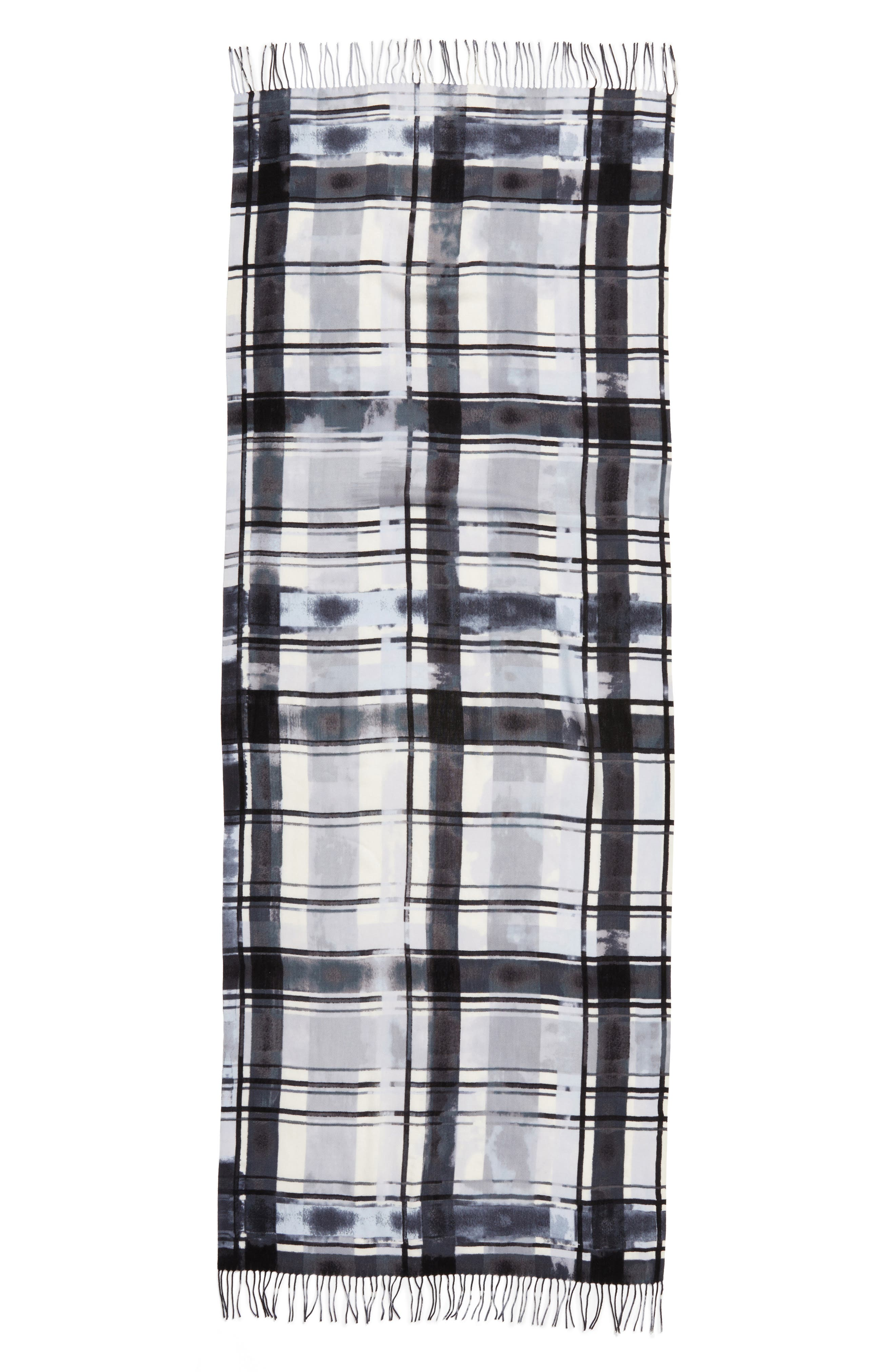 Handicraft Plaid Tissue Weight Wool & Cashmere Scarf,                             Alternate thumbnail 3, color,                             020