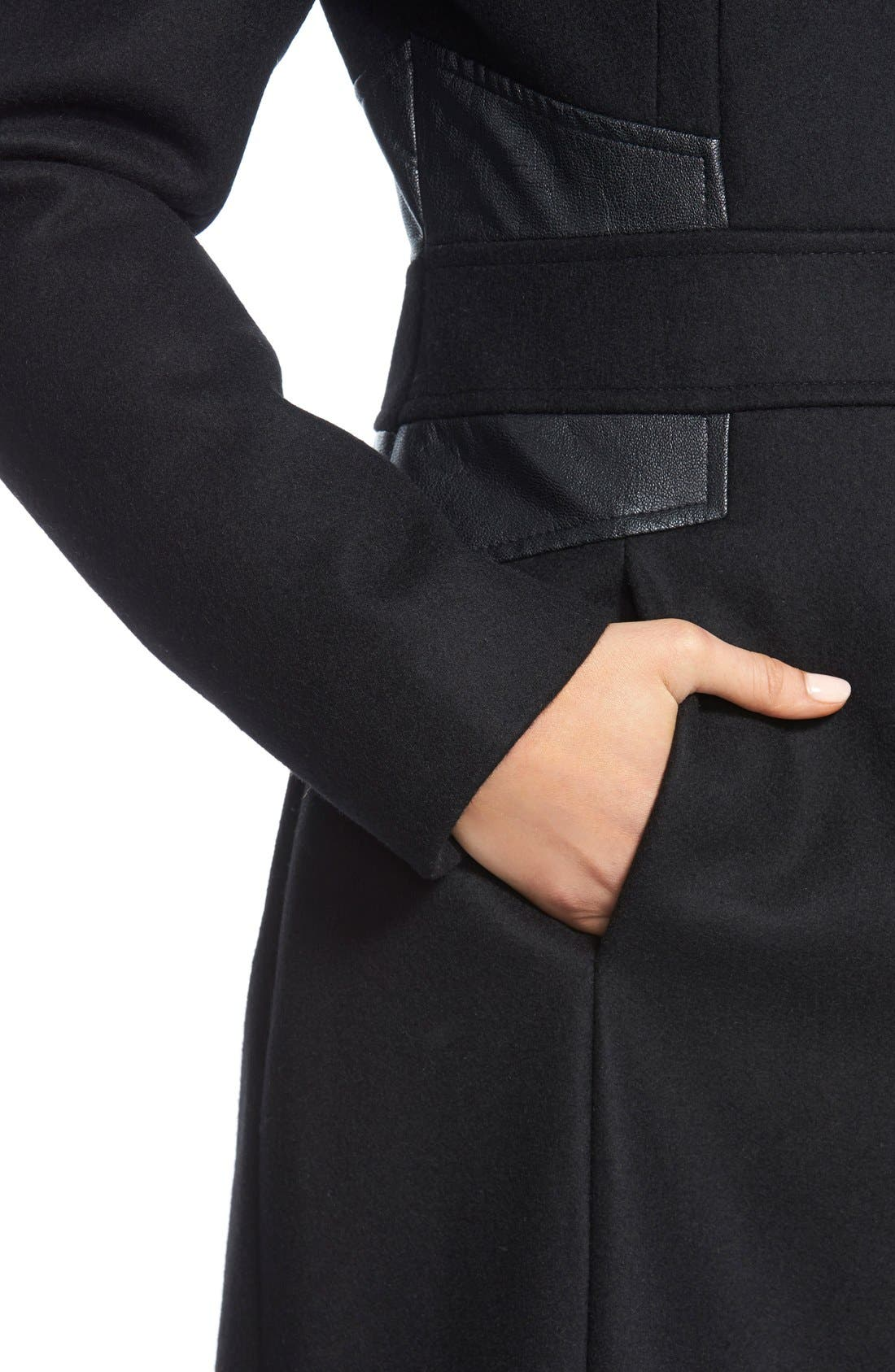 Wool Blend Coat with Faux Leather Trim,                             Alternate thumbnail 2, color,                             001