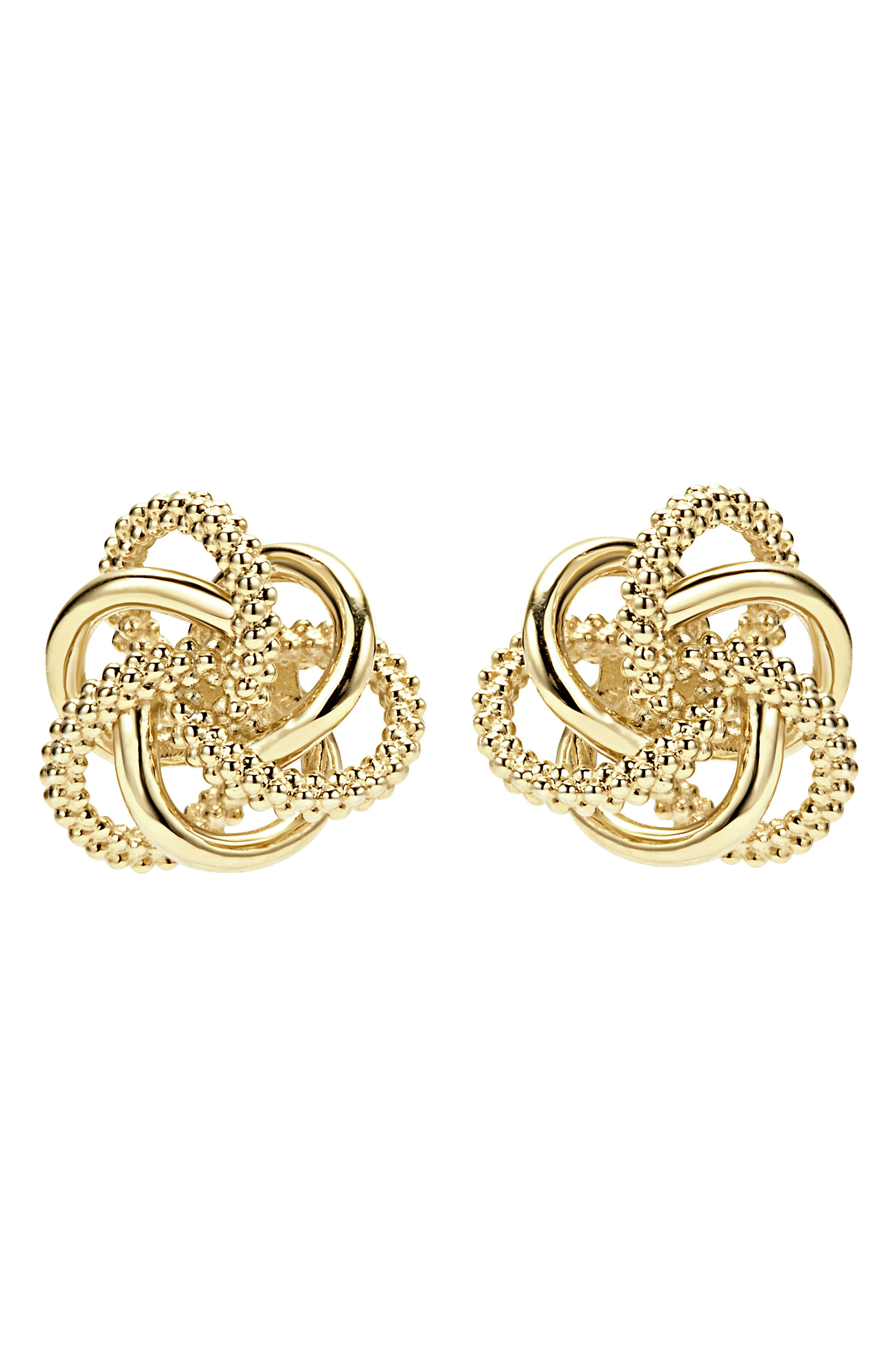 'Love Knot' 18k Gold Stud Earrings,                             Alternate thumbnail 2, color,                             GOLD
