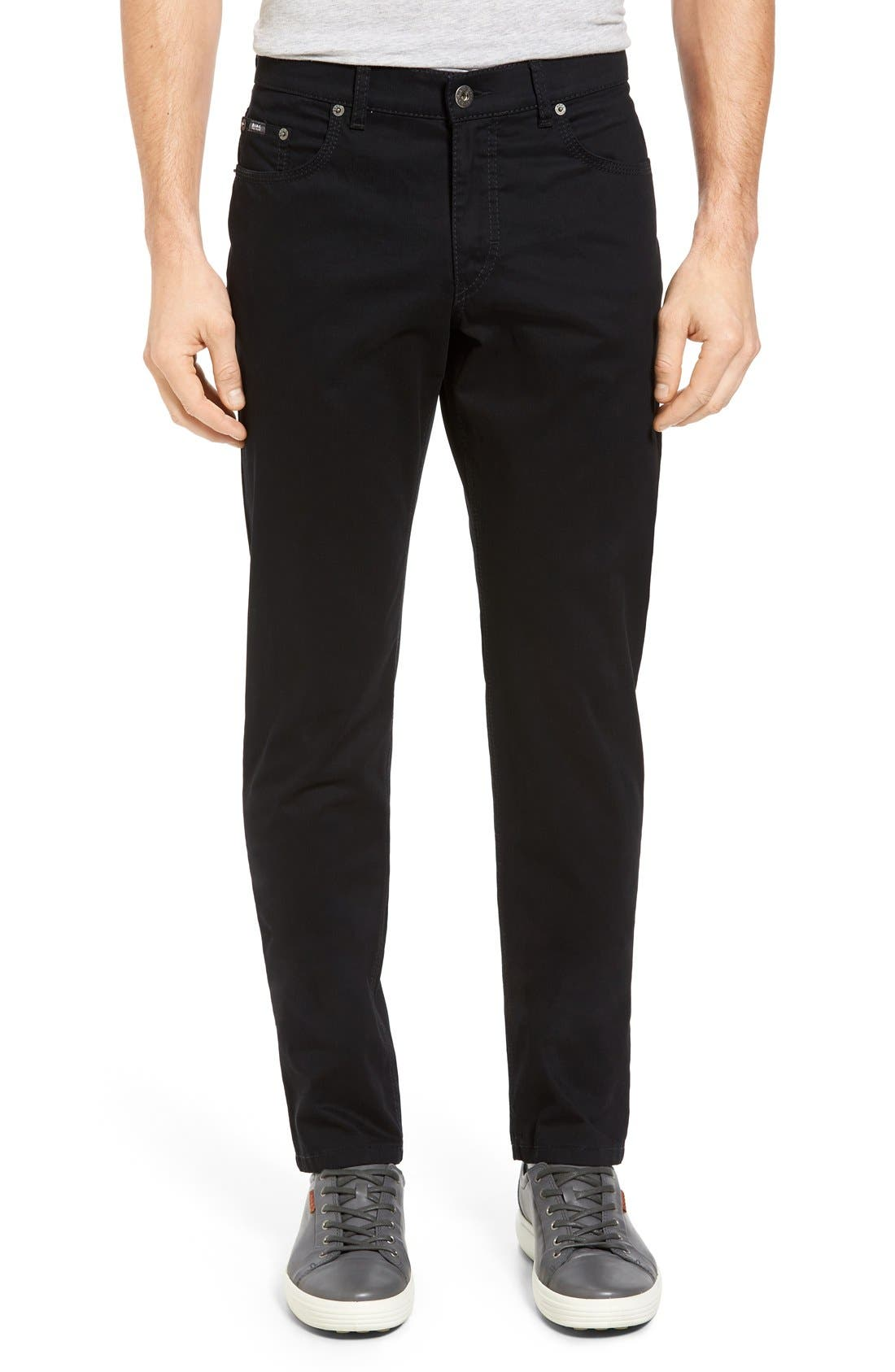 Cooper Prestige Stretch Cotton Pants,                             Main thumbnail 1, color,                             PERMA BLACK