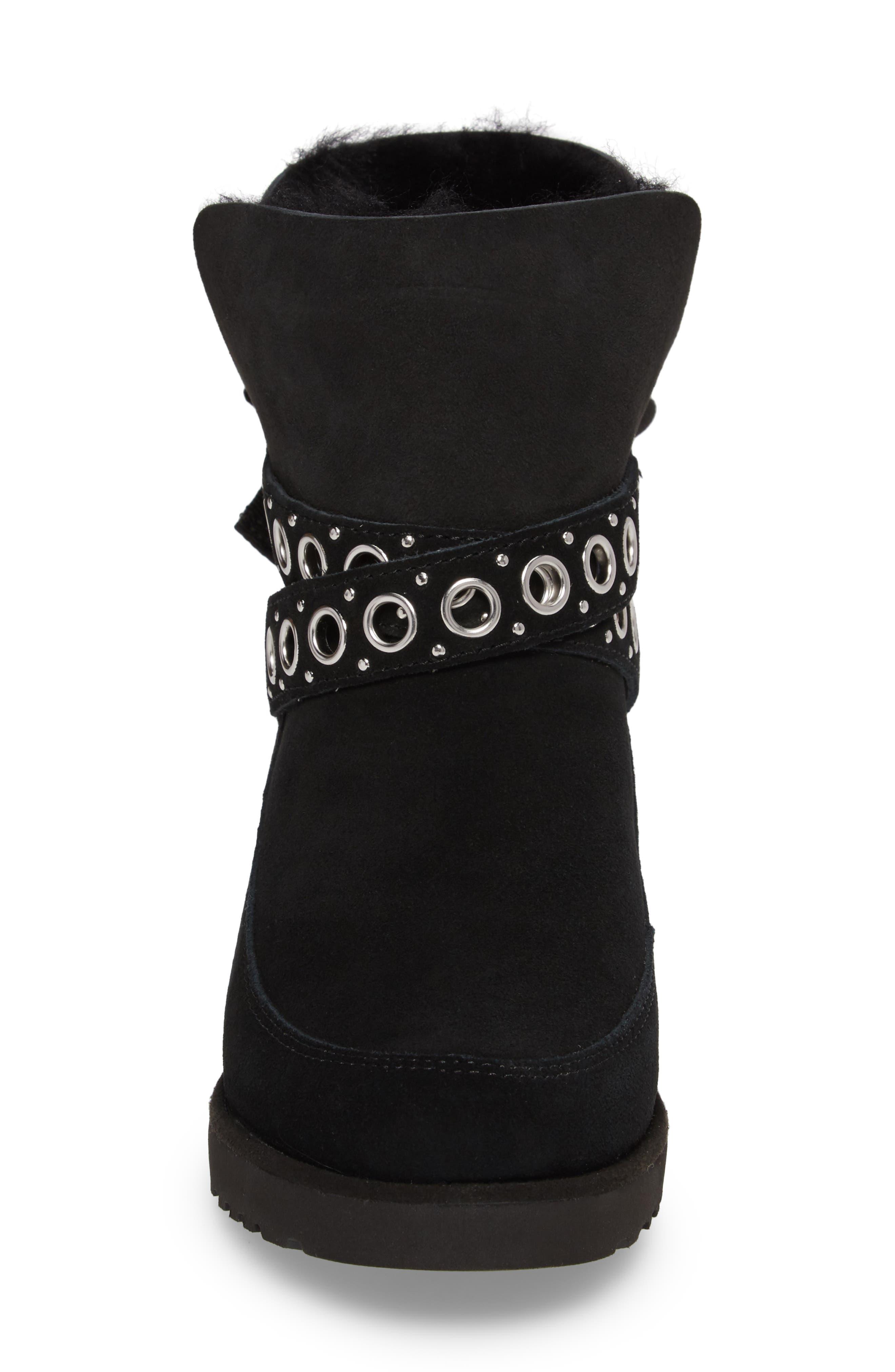 Alisia Grommet Bow Boot,                             Alternate thumbnail 4, color,                             001