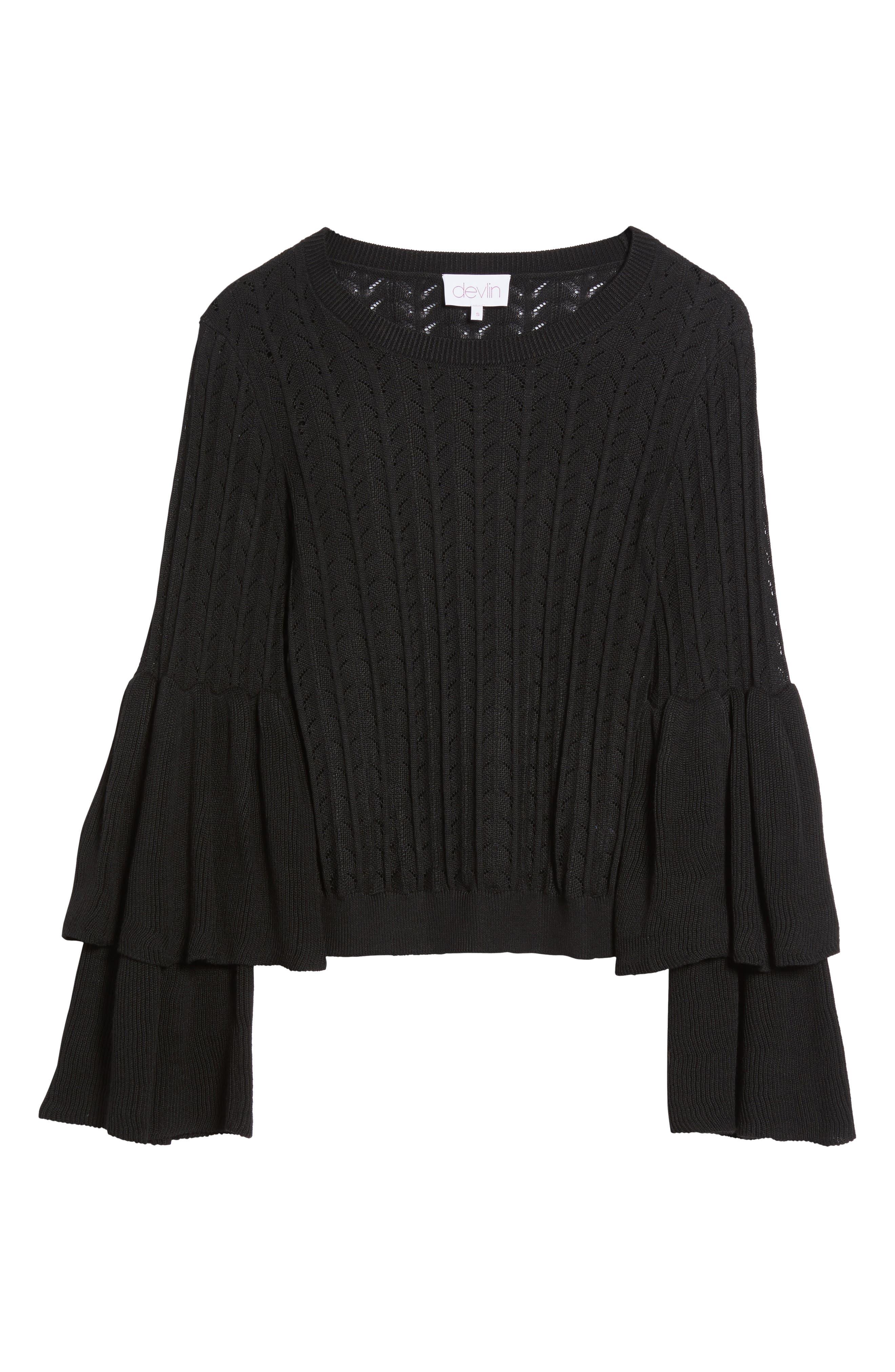 Molly Ruffle Sweater,                             Alternate thumbnail 6, color,                             001