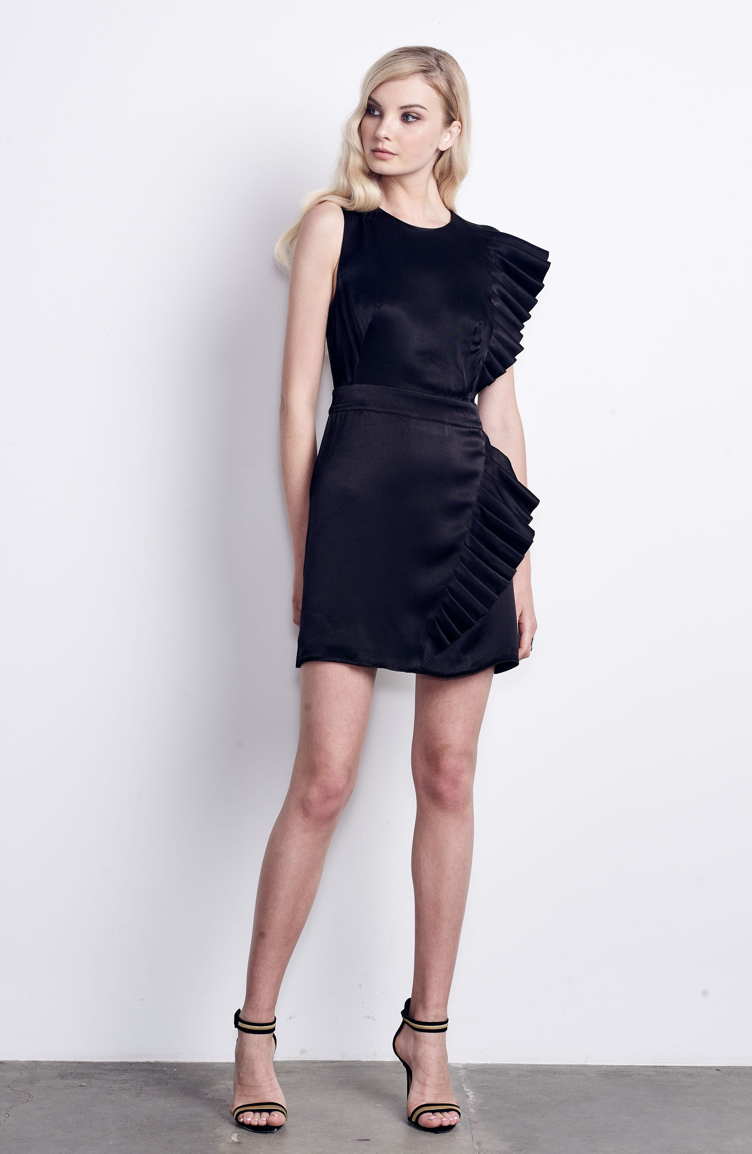 In Crown Satin Pleated Dress,                             Alternate thumbnail 7, color,                             001