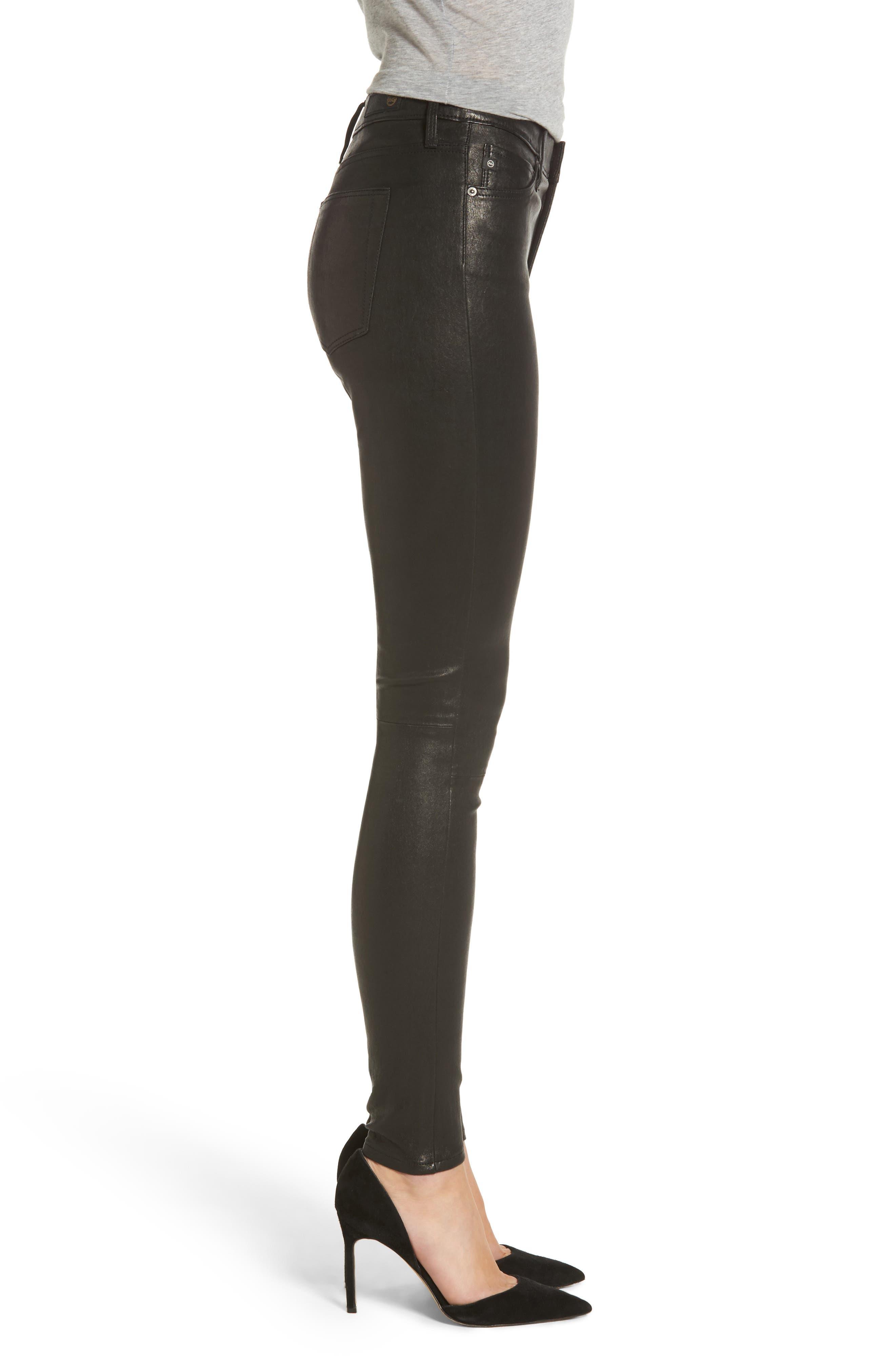Farrah Leather Skinny Jeans,                             Alternate thumbnail 7, color,