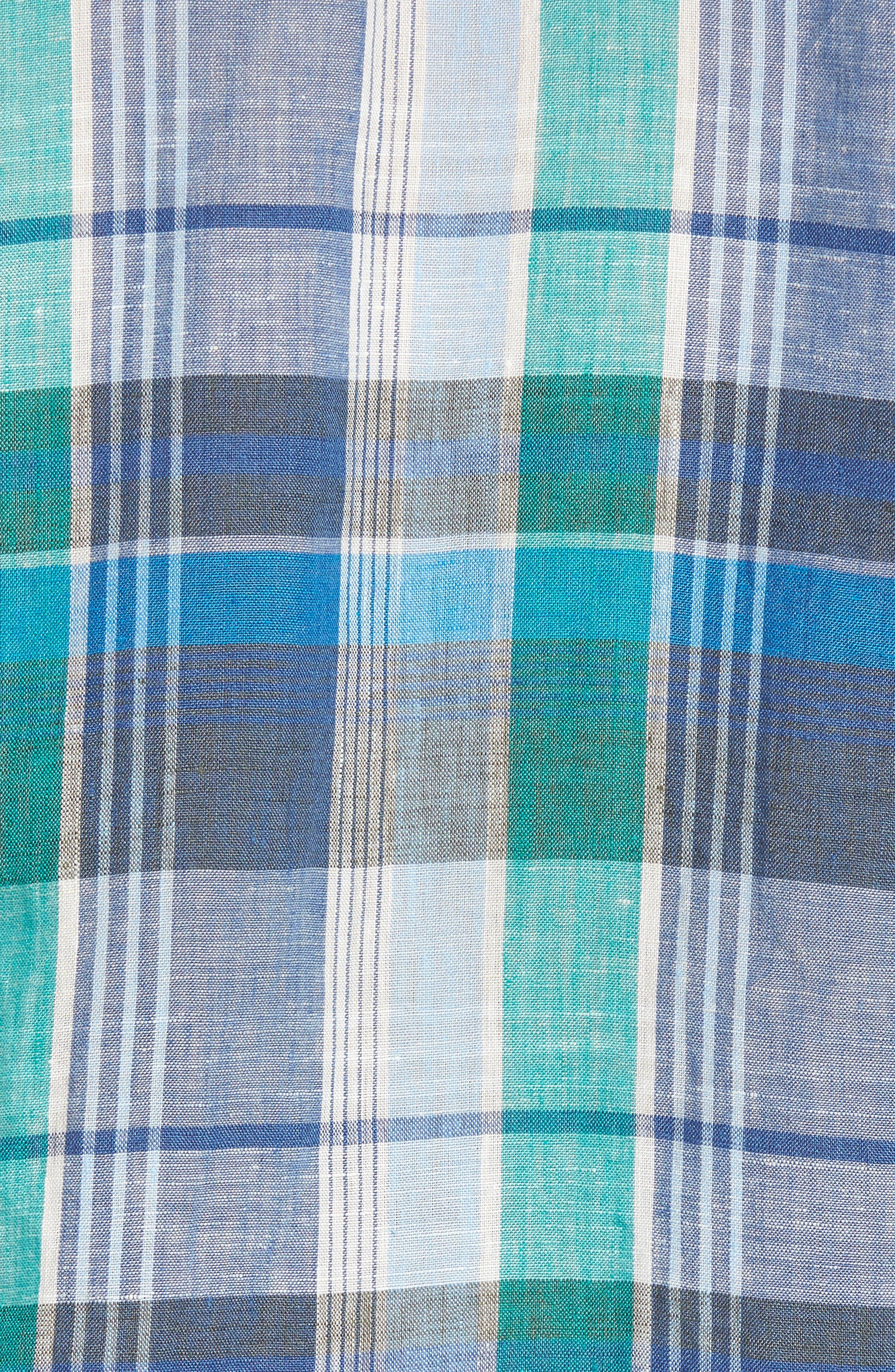 TOMMY BAHAMA,                             Vero Beach Madras Plaid Linen Sport Shirt,                             Alternate thumbnail 5, color,                             300