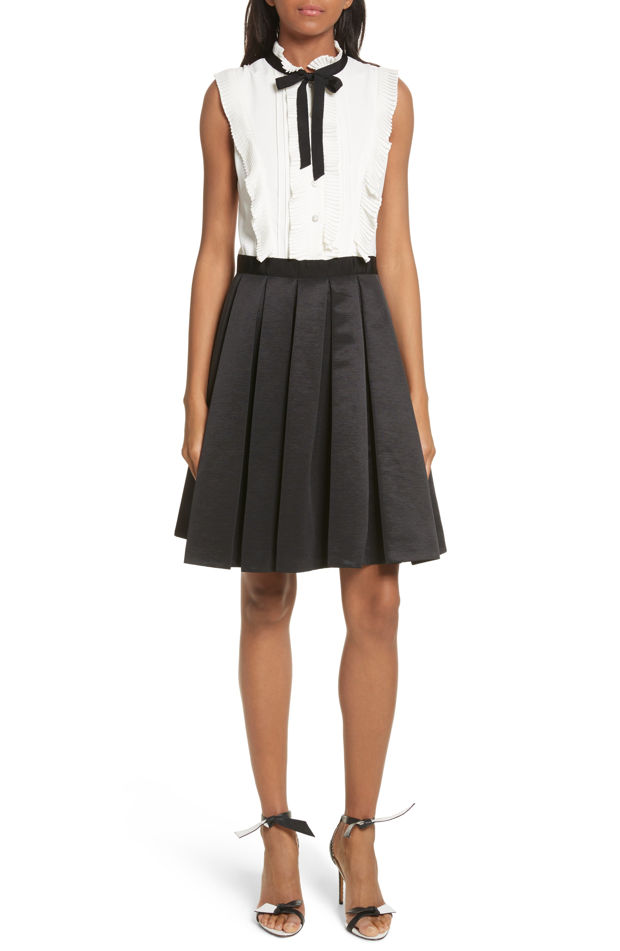 Pleated Neck Tie Dress, Main, color, 001