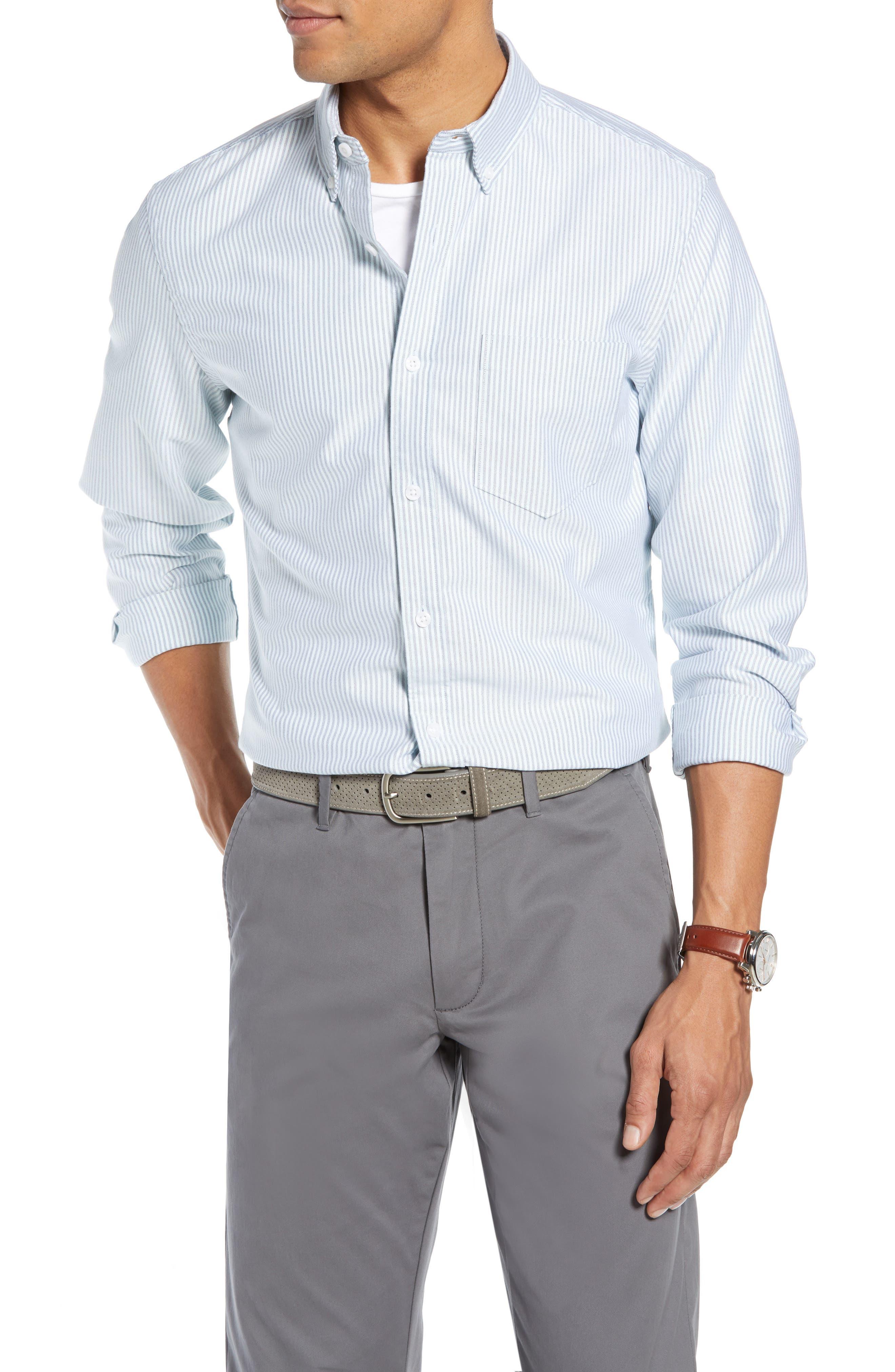 Trim Fit Bengal Stripe Sport Shirt,                         Main,                         color, BLUE ENSIGN MINT STRIPE