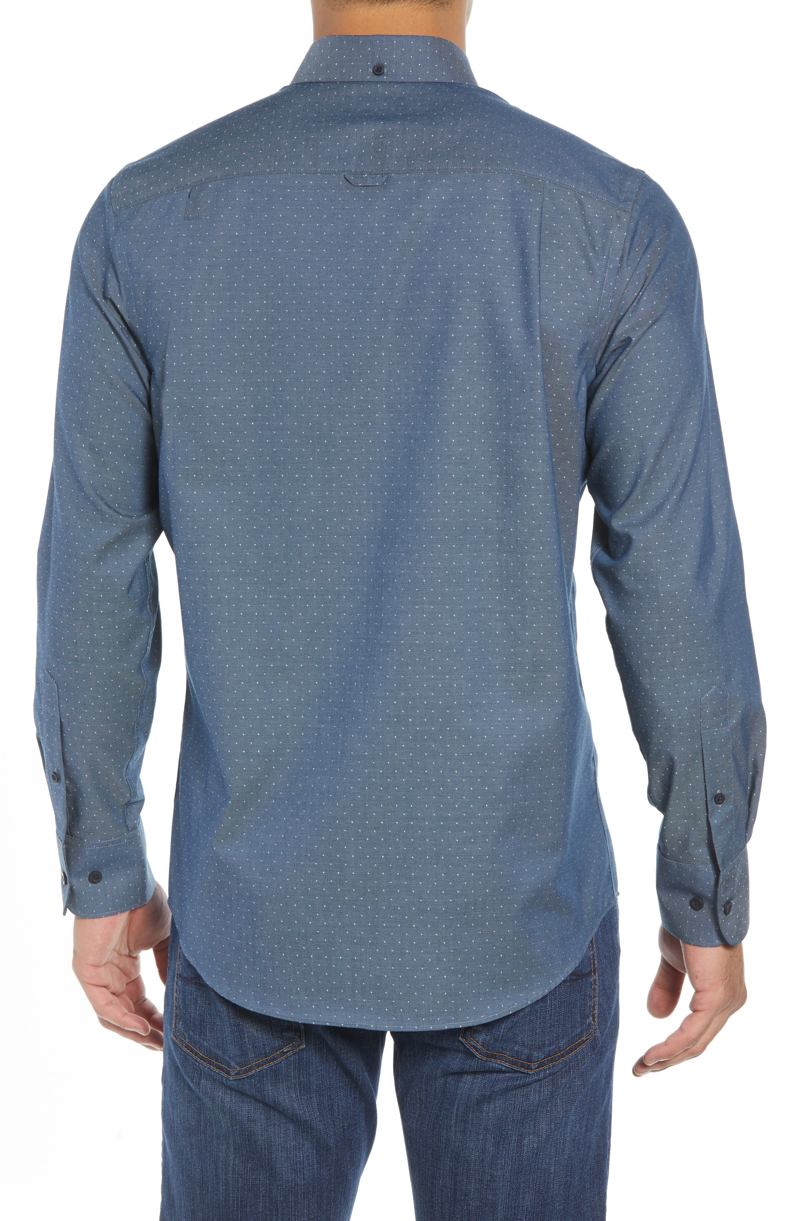 Regular Fit Dobby No-Iron Sport Shirt,                             Alternate thumbnail 2, color,                             NAVY ARMADA CHAMBRAY DOBBY
