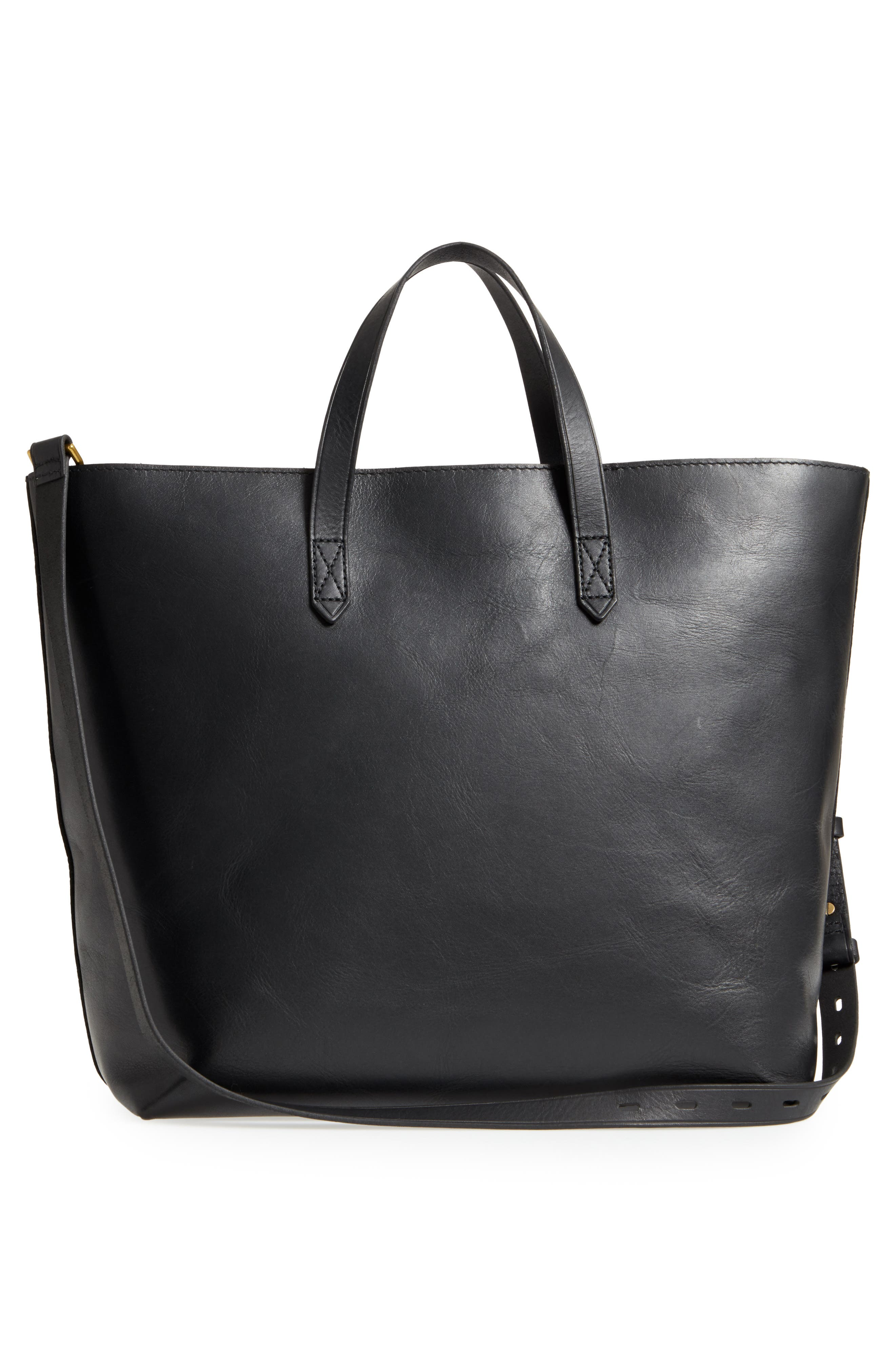 Zip Top Transport Leather Carryall,                             Alternate thumbnail 3, color,                             TRUE BLACK