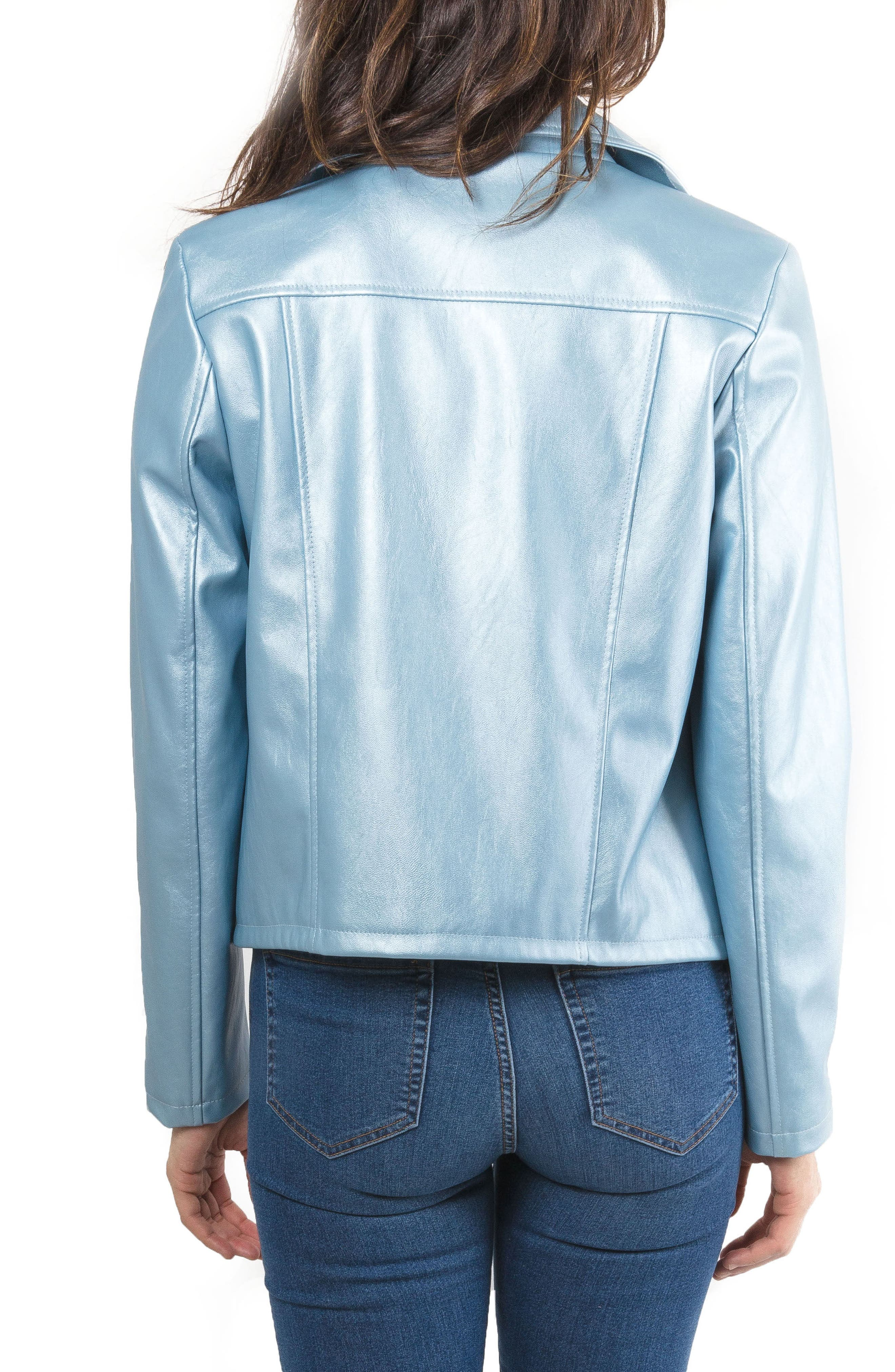 Metallic Faux Leather Biker Jacket,                             Alternate thumbnail 3, color,