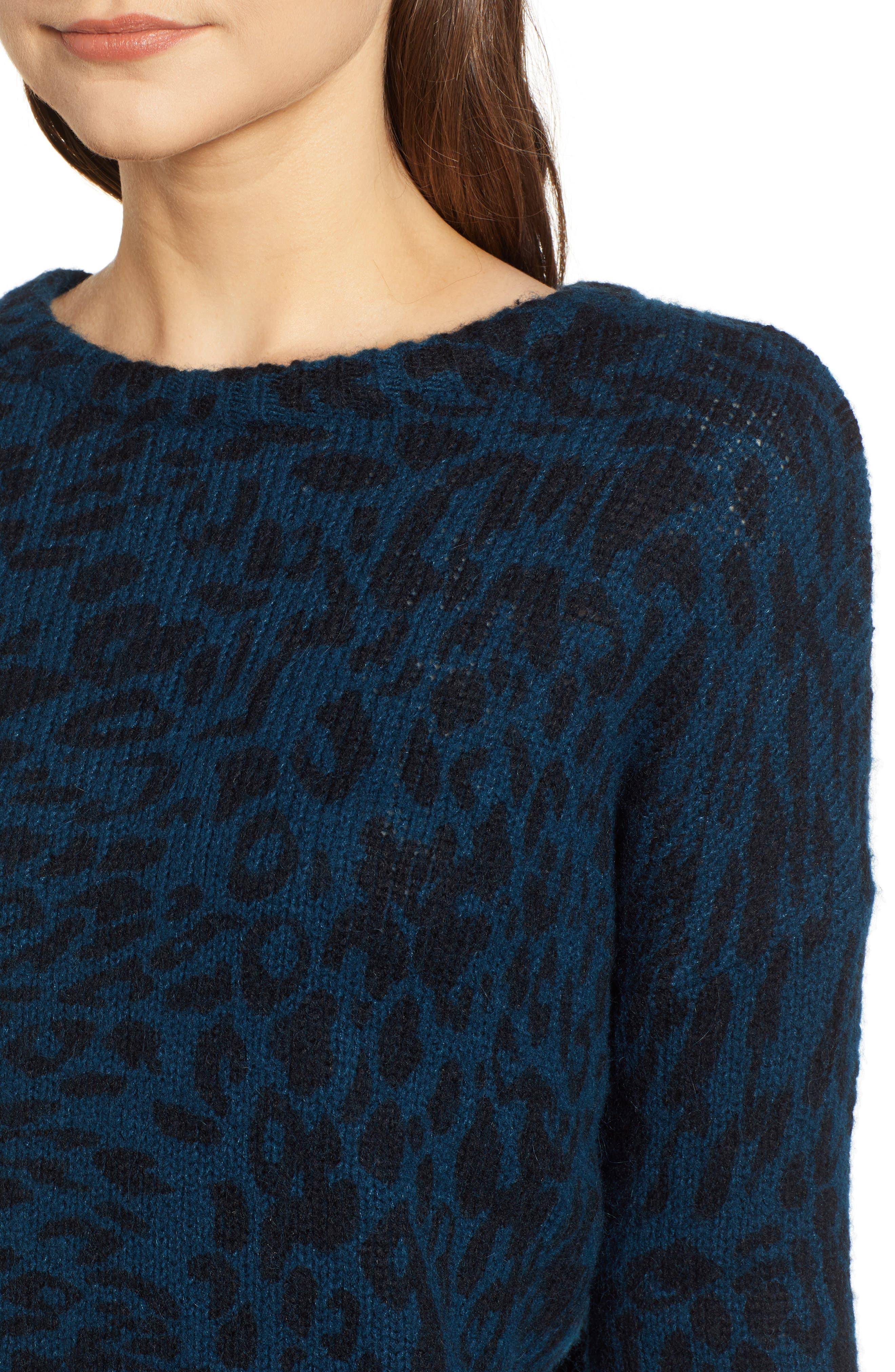 Donovan Animal Print Sweater,                             Alternate thumbnail 4, color,                             BLUE LEOPARD
