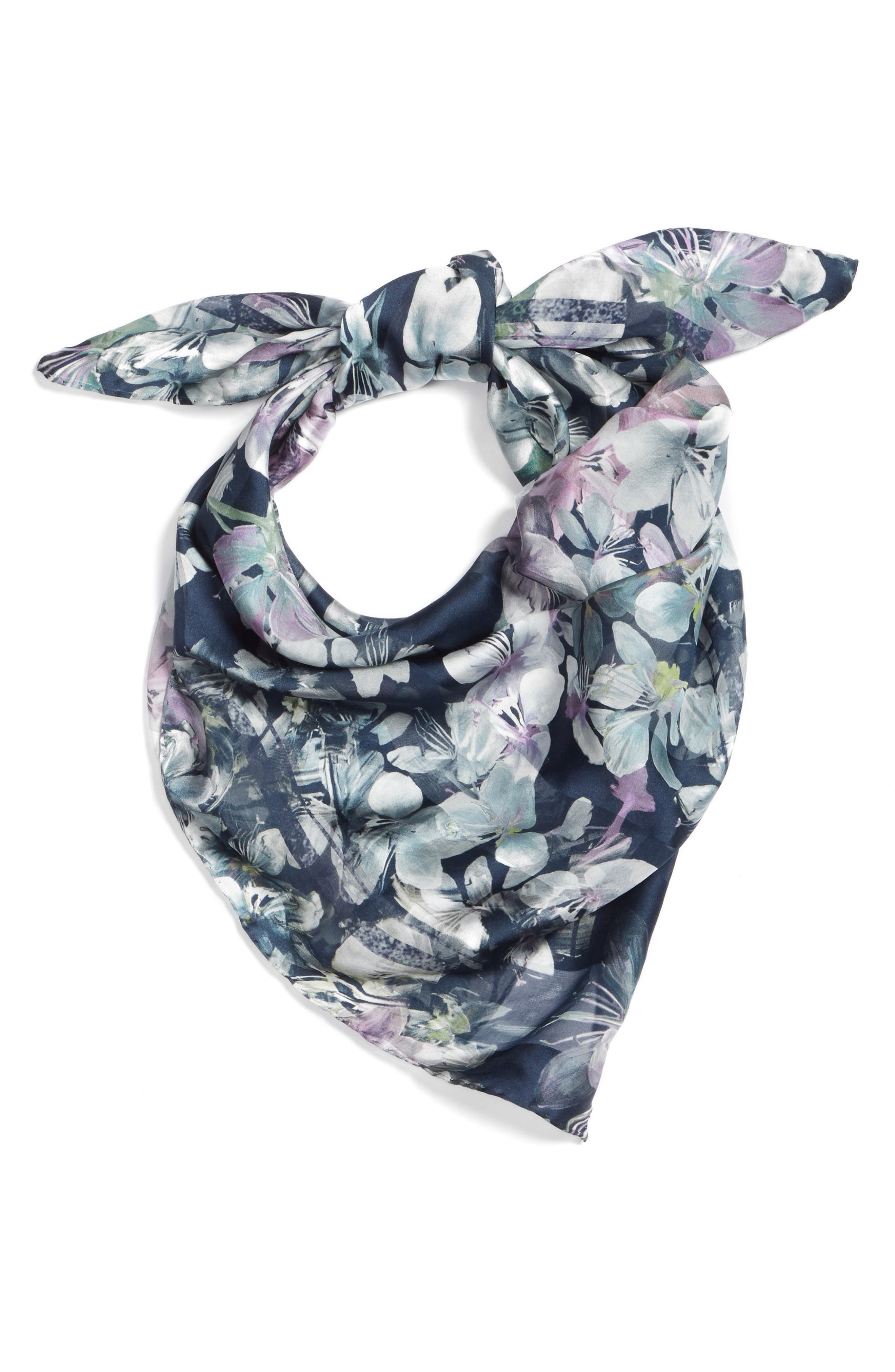 Caramba Floral Silk Scarf,                             Alternate thumbnail 2, color,                             ULTRAMARINE BLUE