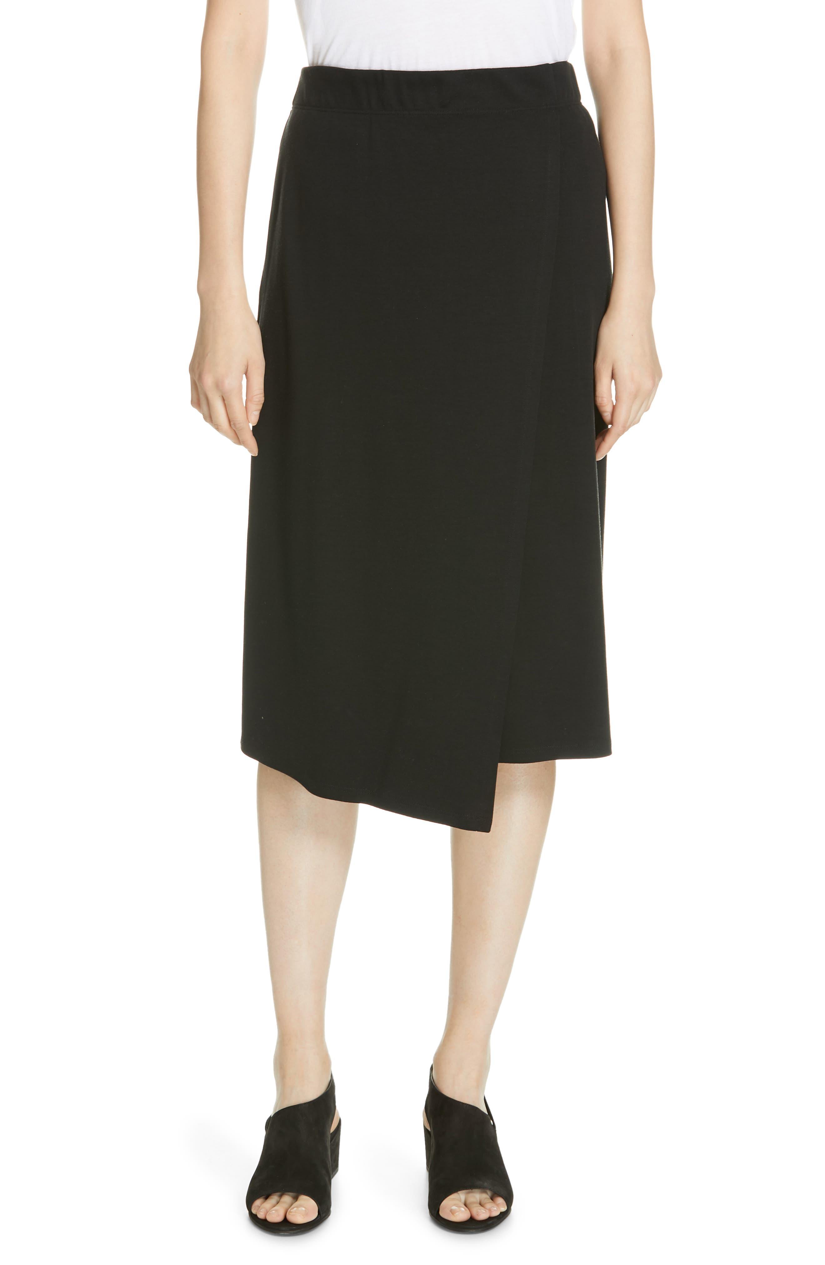 Eileen Fisher Faux Wrap Knit Skirt, Black