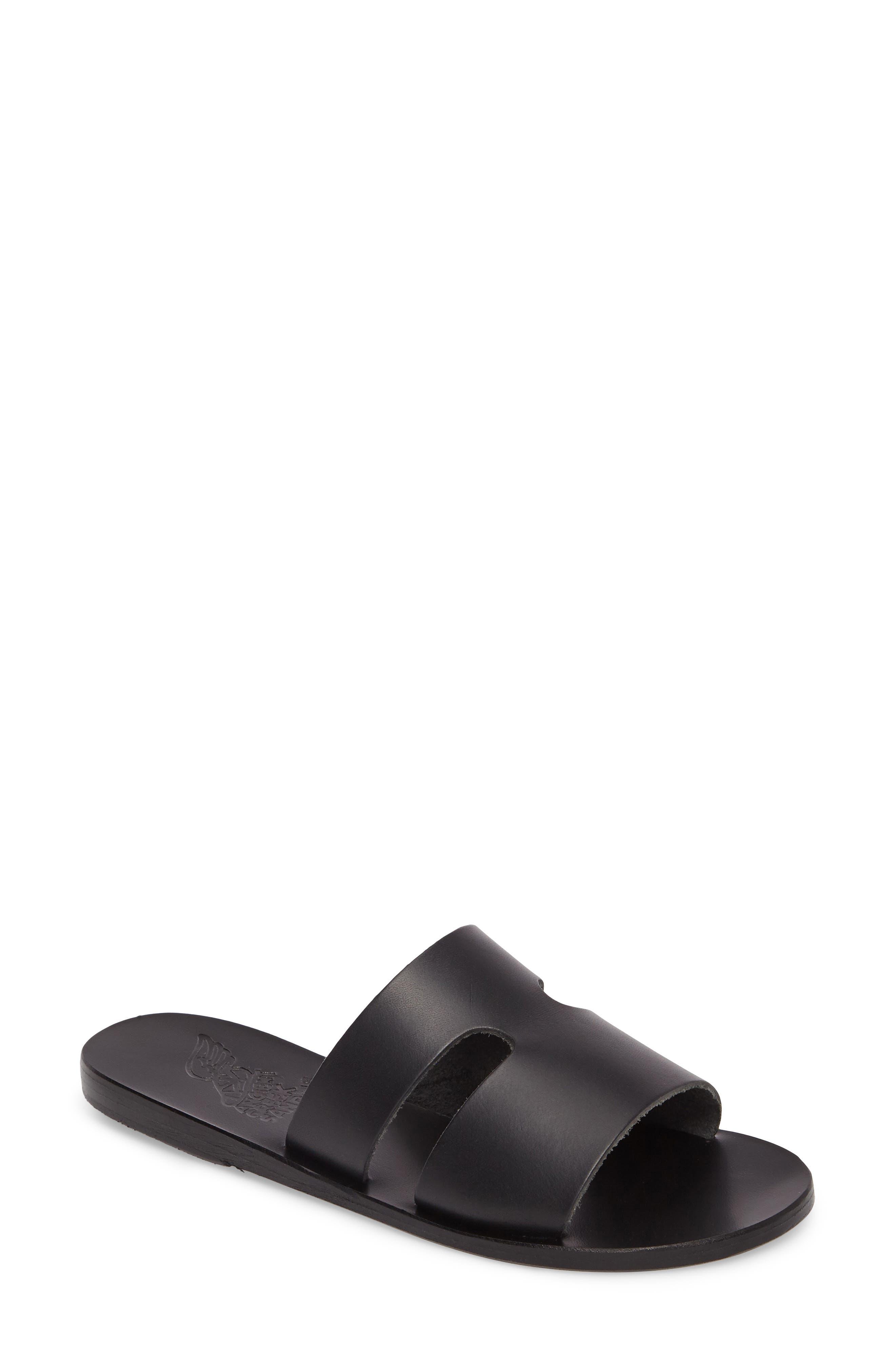 Apteros Genuine Calf Hair Slide Sandal,                             Main thumbnail 1, color,                             001
