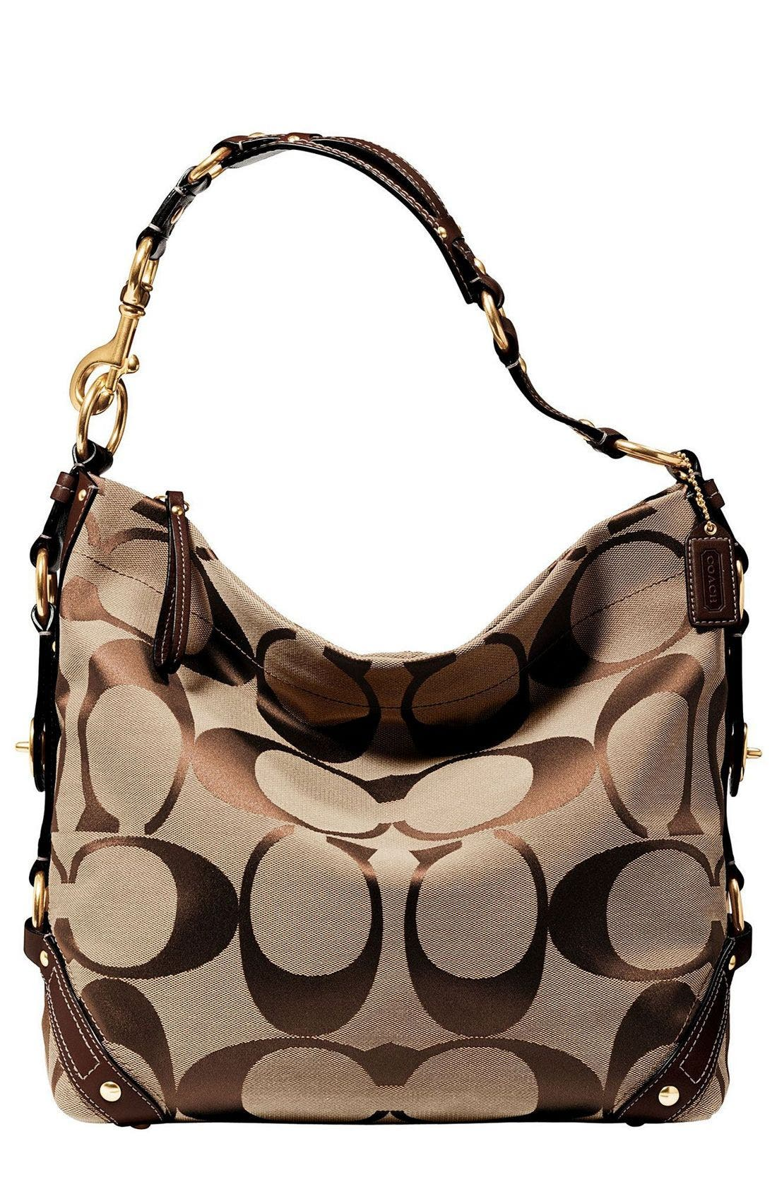 COACH CARLY LARGE SIGNATURE BAG, Main, color, 200