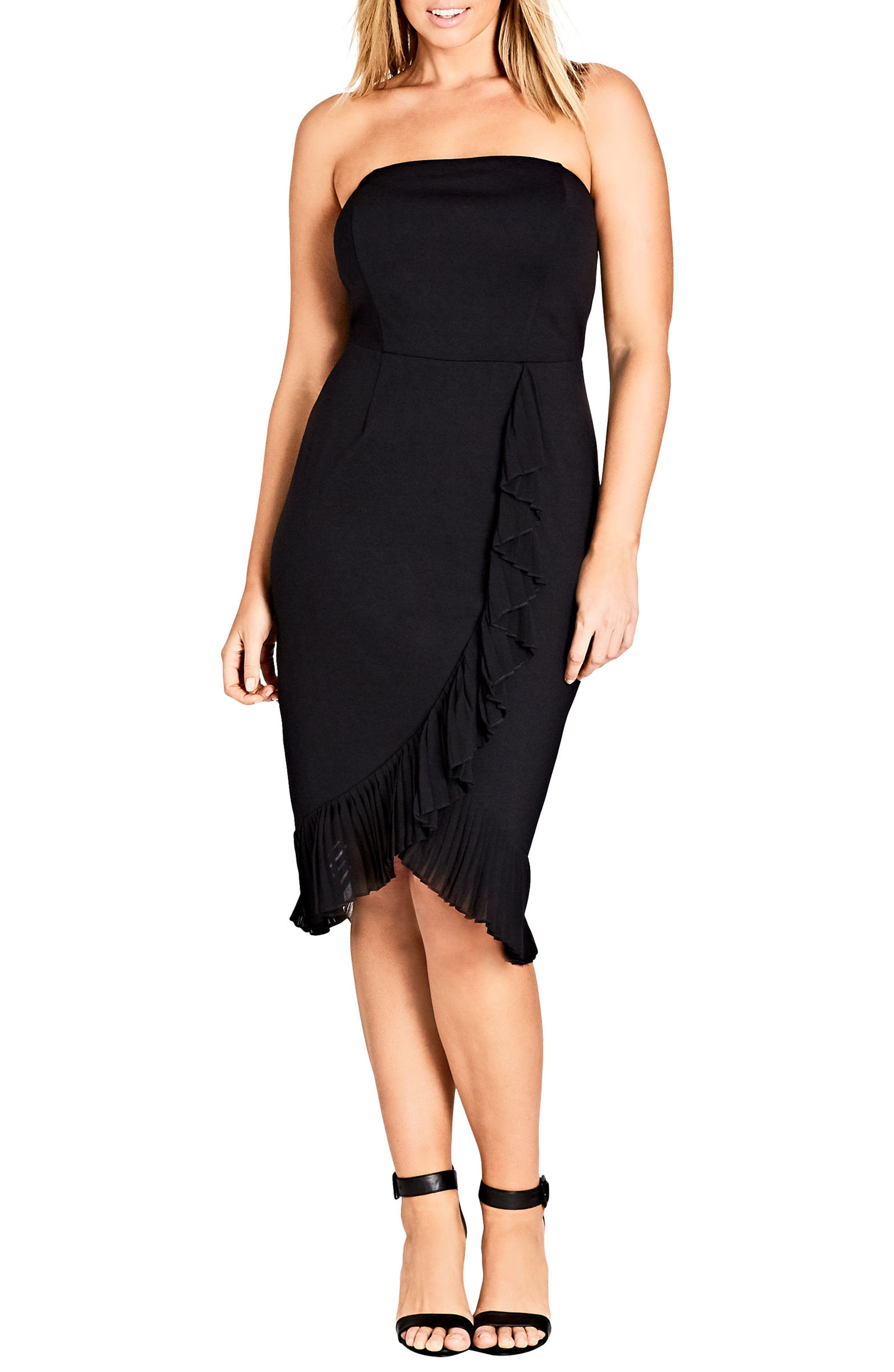 Chic Love Strapless Ruffle Trim Dress,                             Main thumbnail 1, color,                             001