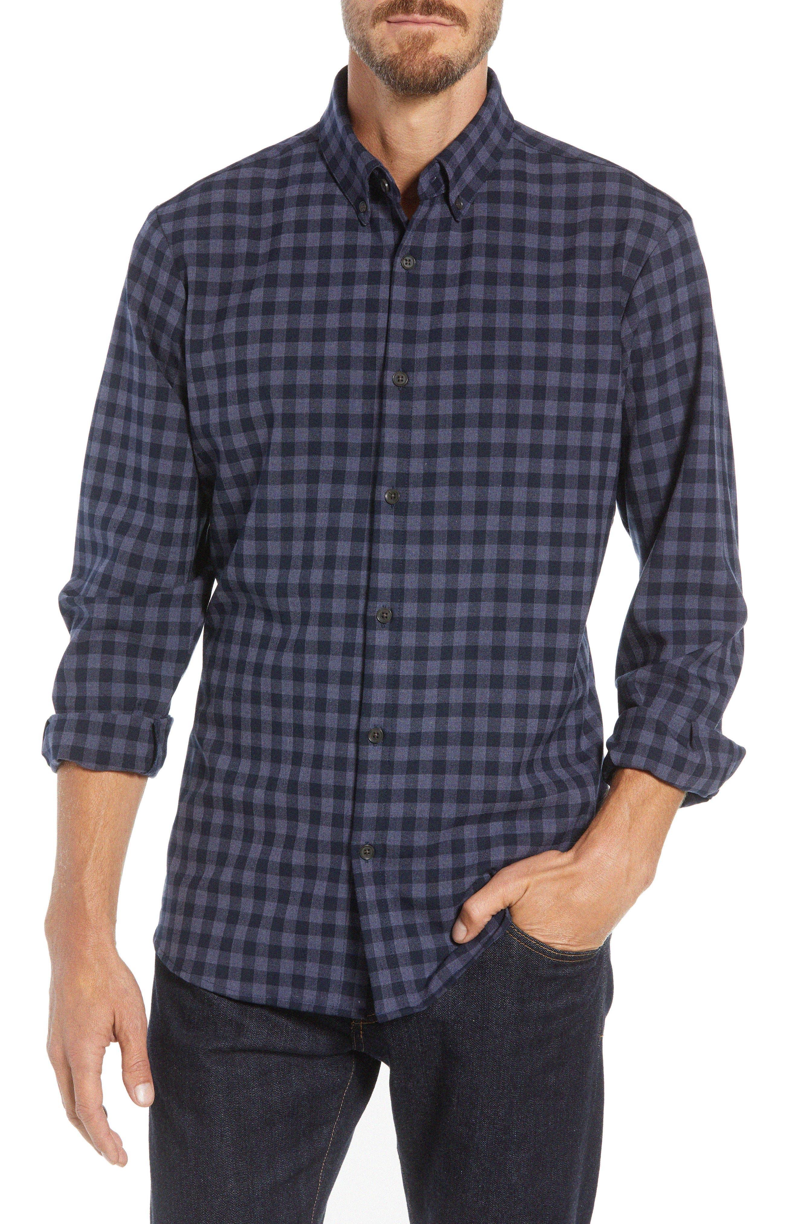Palmetto Regular Fit Flannel Sport Shirt,                             Main thumbnail 1, color,                             NAVY