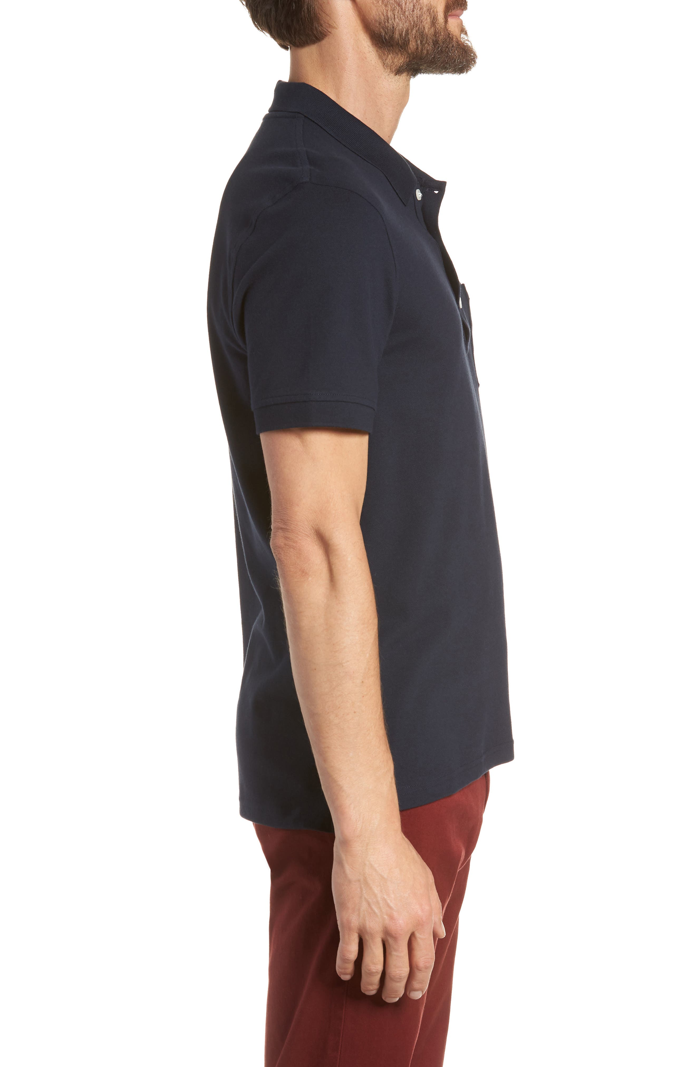 Stretch Cotton Polo Shirt,                             Alternate thumbnail 3, color,                             NAVY