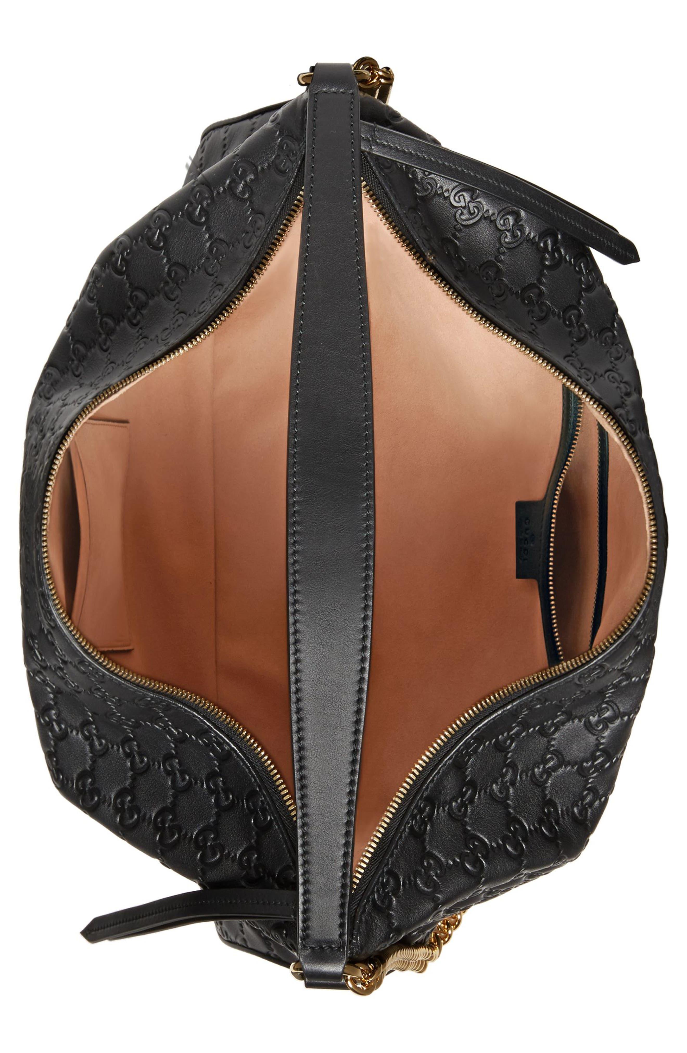 Medium Padlock Leather Hobo,                             Alternate thumbnail 2, color,                             NERO/ NERO