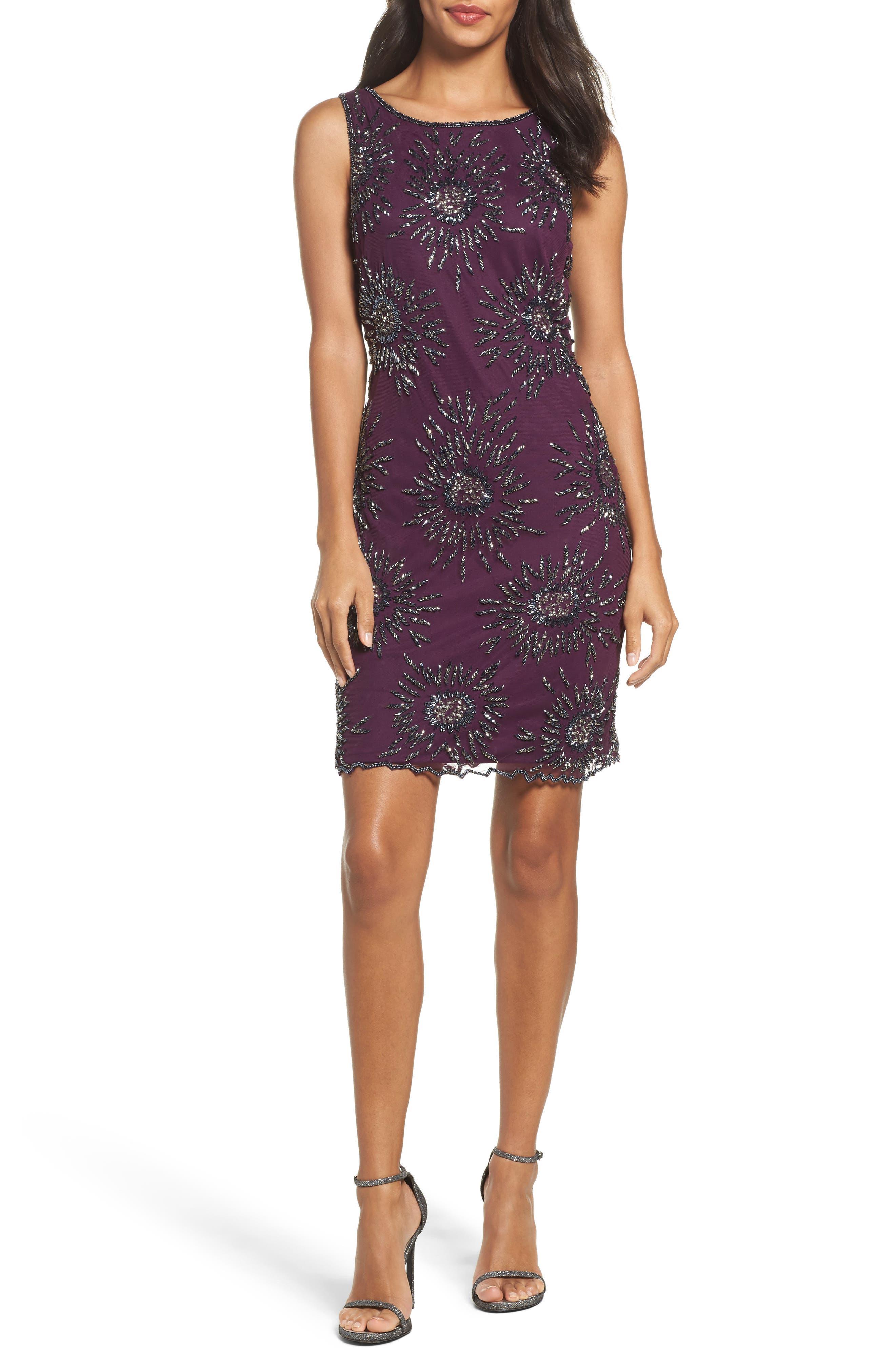 Starburst Beaded Mesh Sheath Dress,                         Main,                         color, 502