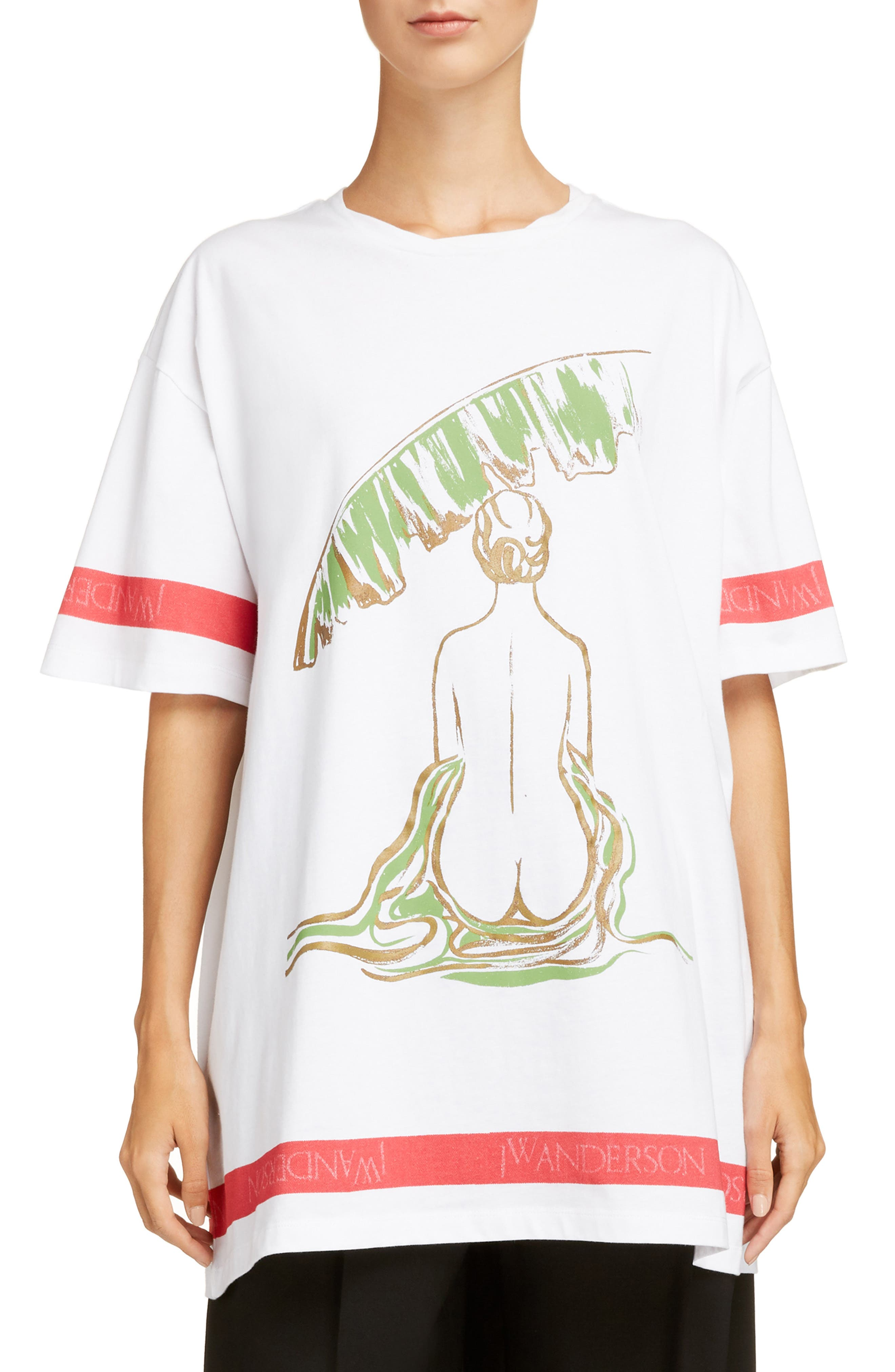 Palm Lady Oversized Tee,                             Main thumbnail 1, color,                             100