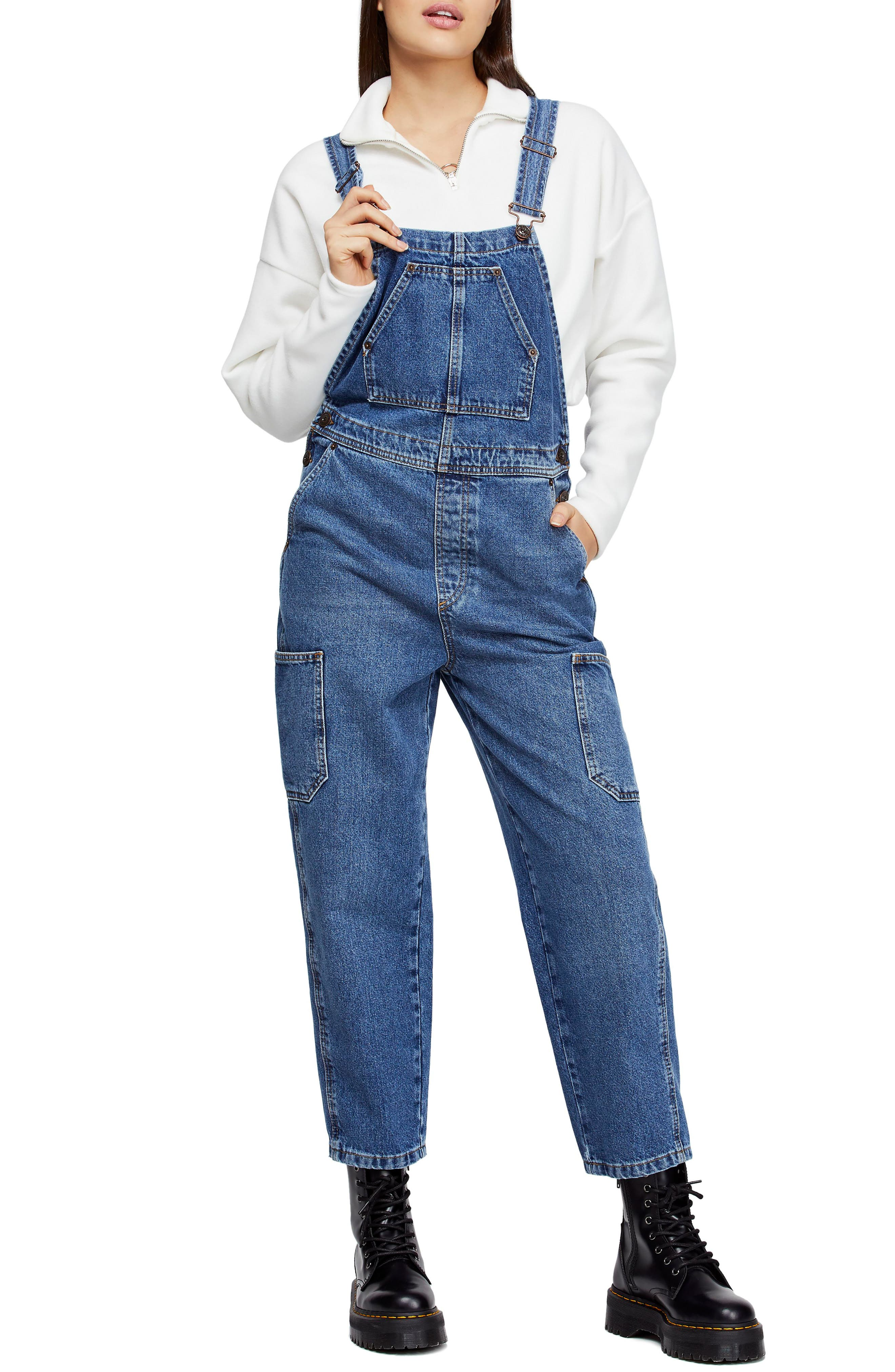 Urban Outfitters Workwear Denim Overalls,                             Main thumbnail 1, color,                             DENIM BLUE