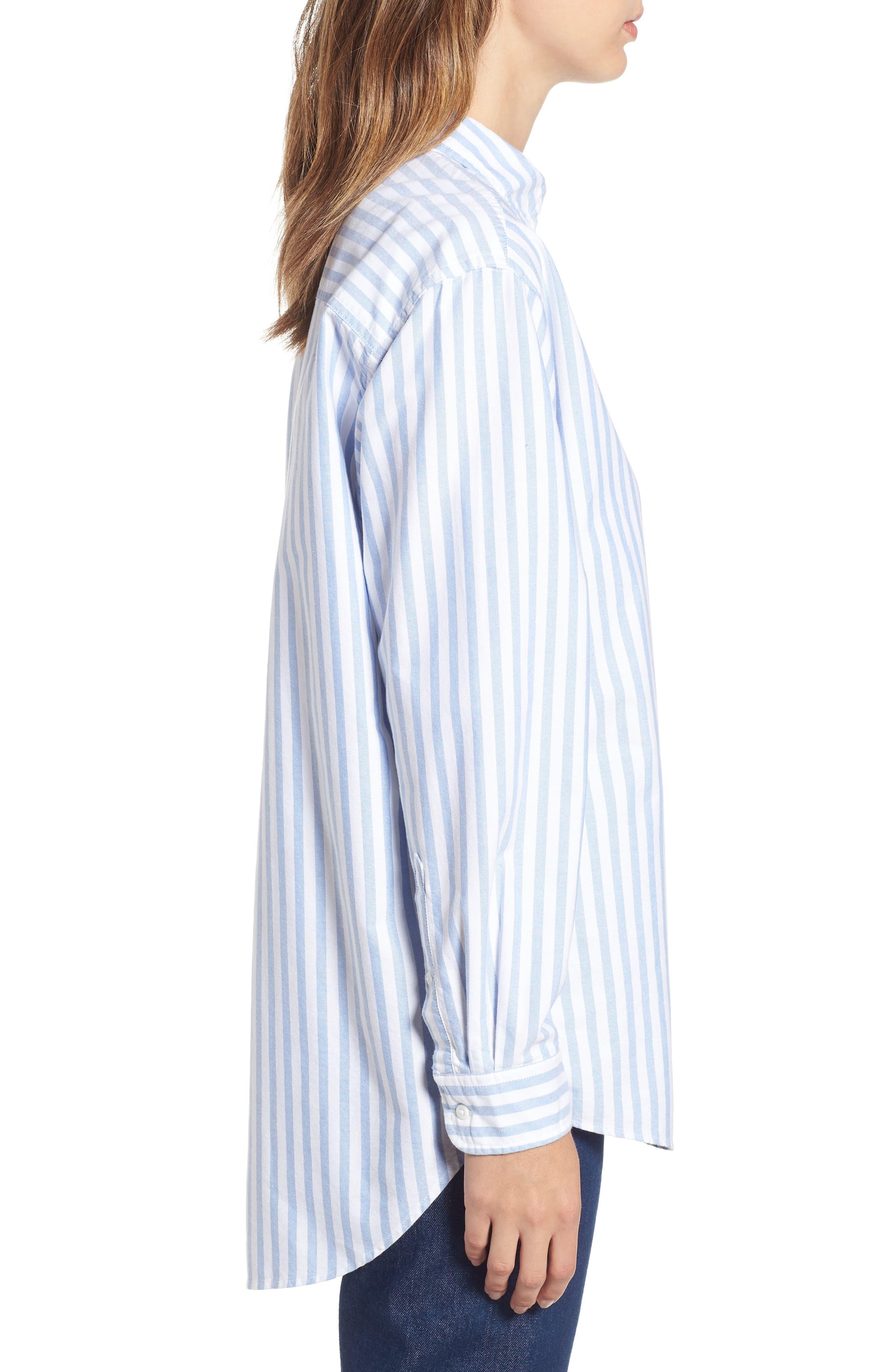 TJW Classics Stripe Shirt,                             Alternate thumbnail 3, color,                             BRIGHT WHITE / LIGHT BLUE