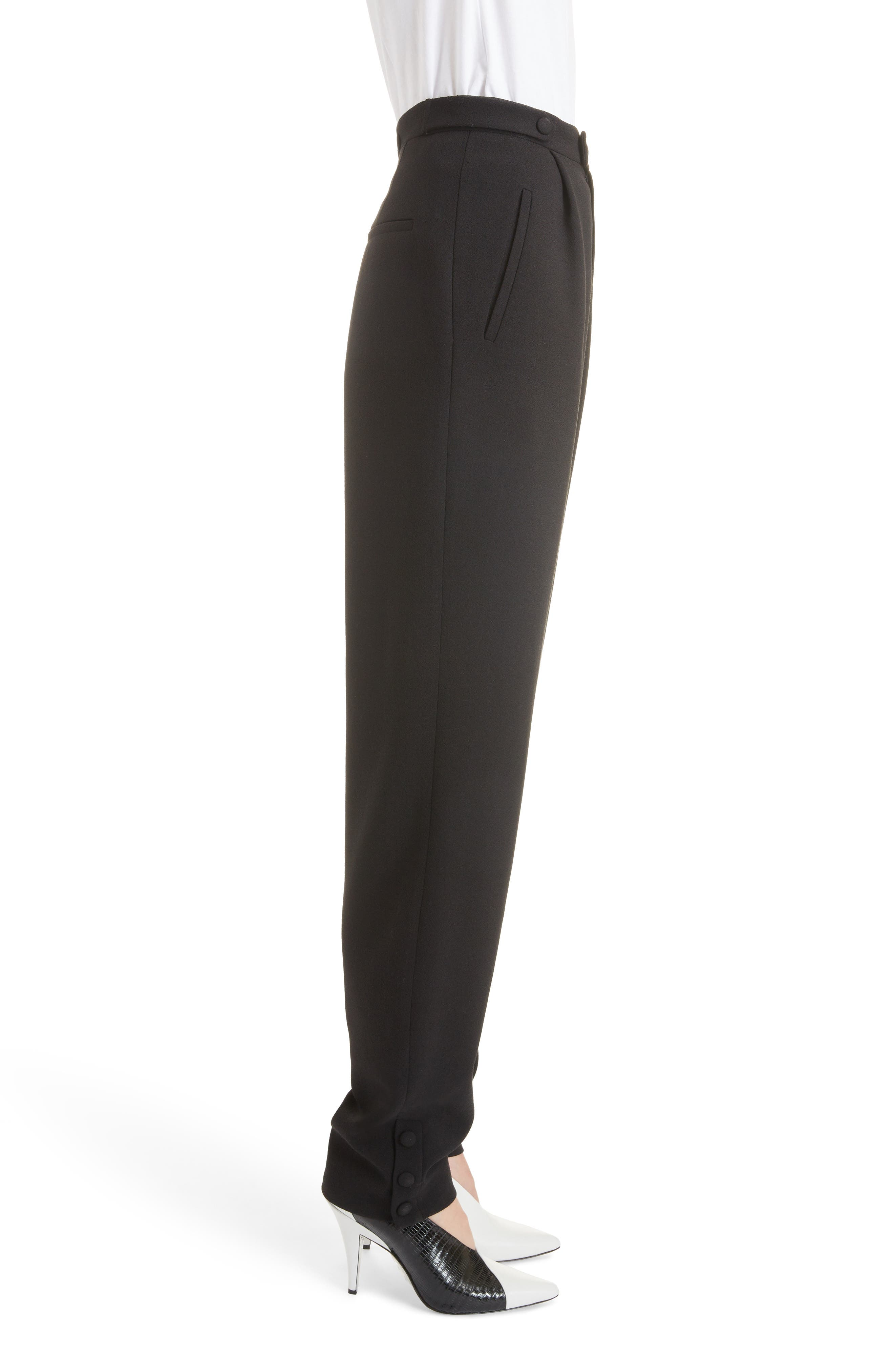 Button Detail Wool Trousers,                             Alternate thumbnail 3, color,                             BLACK