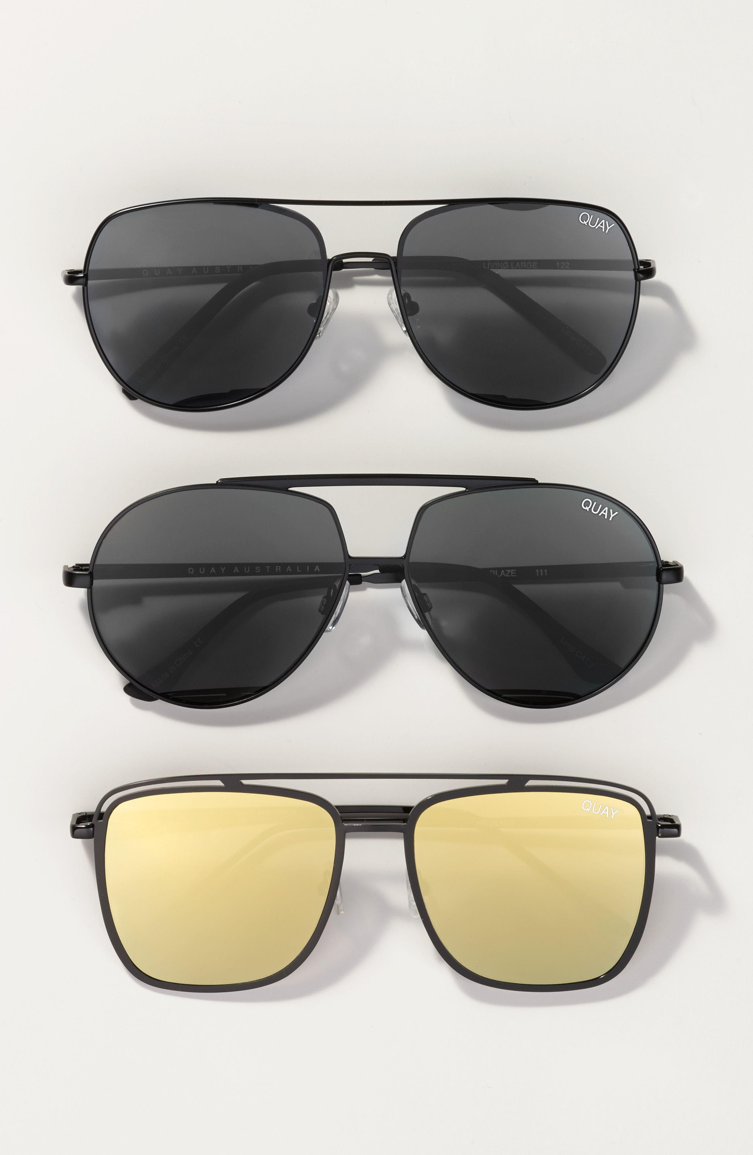 Living Large 61mm Aviator Sunglasses,                             Alternate thumbnail 3, color,                             001