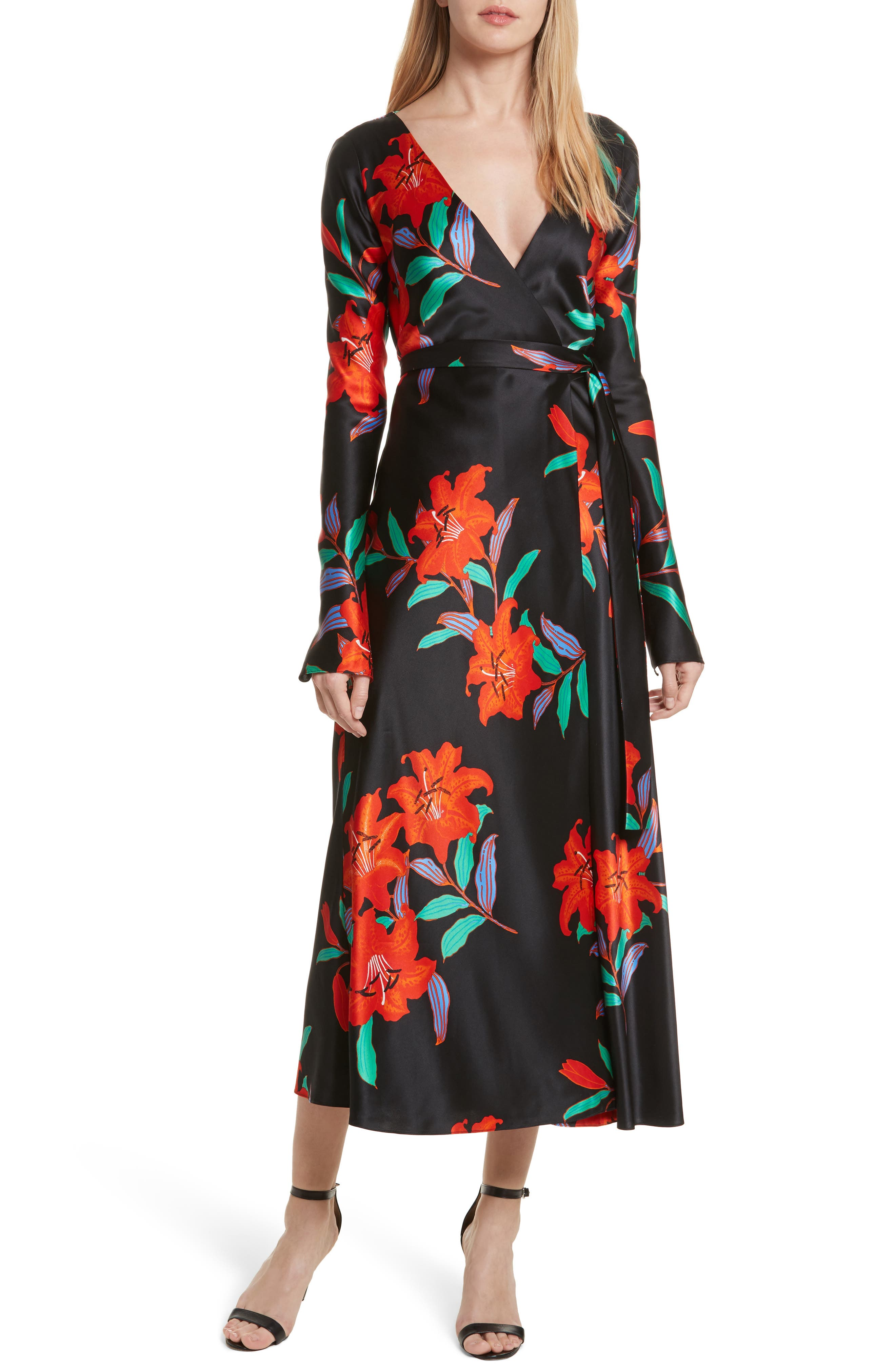 Diane von Furstenberg Floral Print Wrap Silk Dress,                             Main thumbnail 1, color,                             001