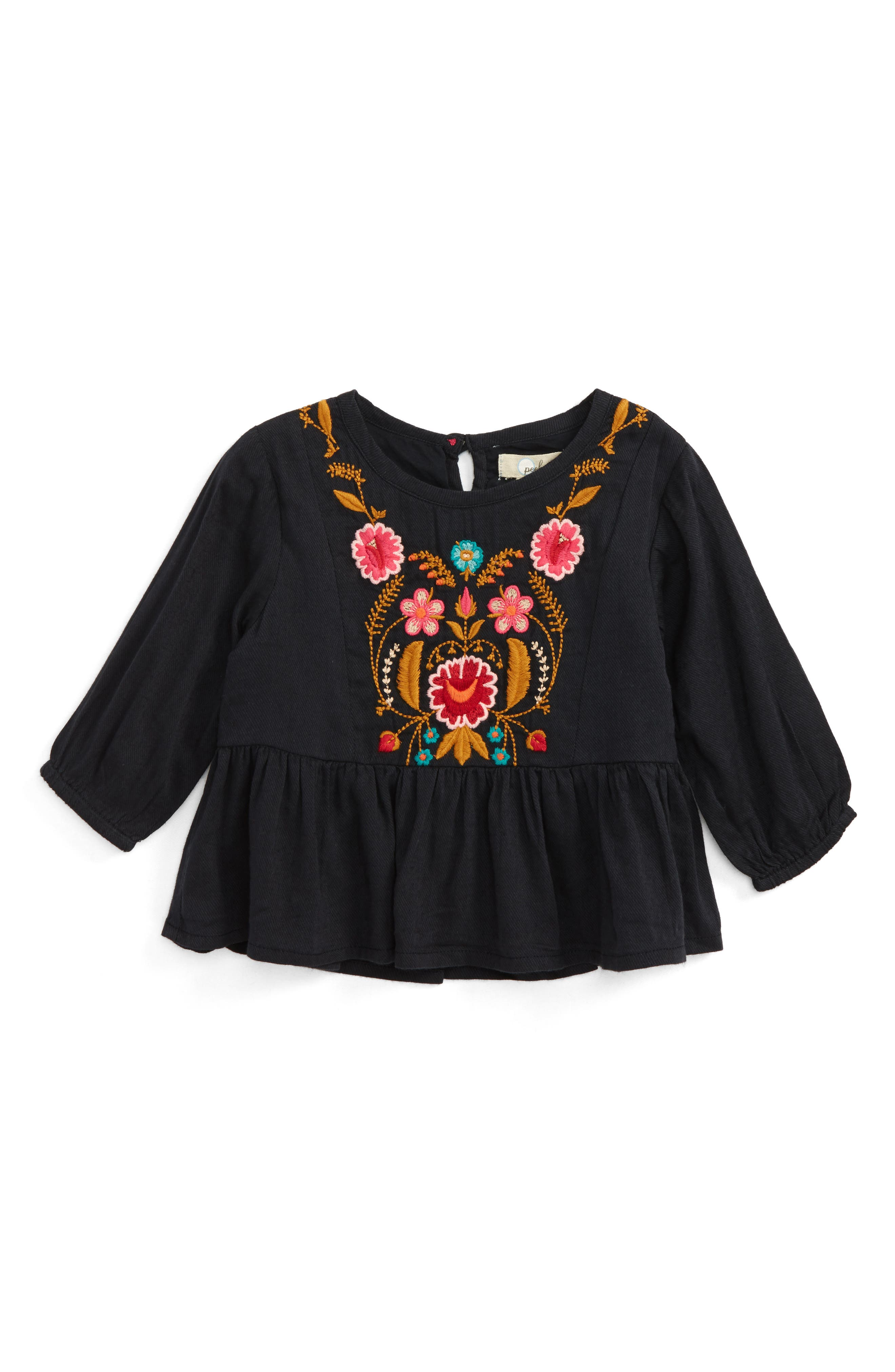 Emma Embroidered Twill Tunic,                             Main thumbnail 1, color,                             001