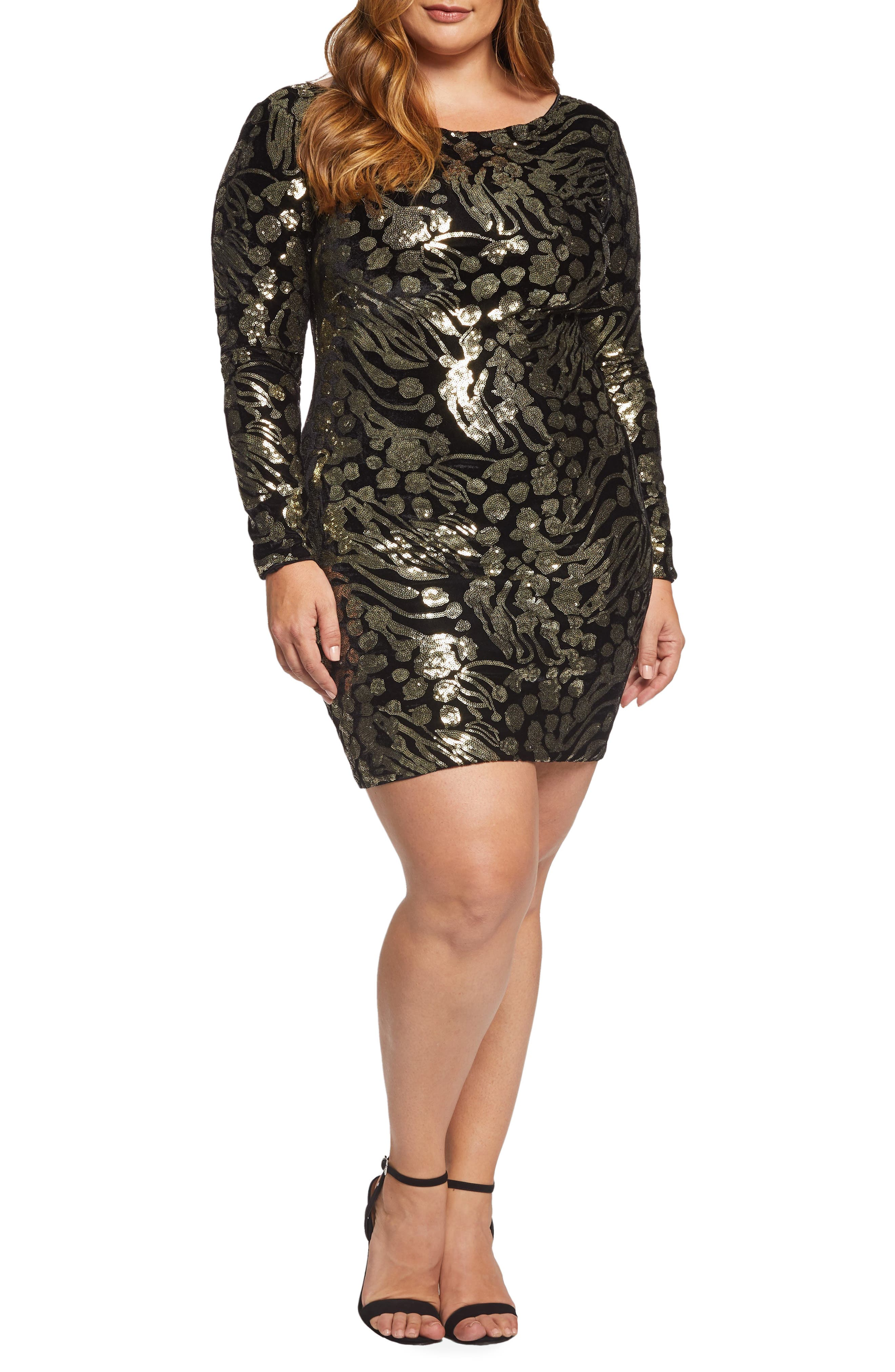 70s Prom, Formal, Evening, Party Dresses Plus Size Womens Dress The Population Lola Sequin  Velvet Minidress $216.00 AT vintagedancer.com
