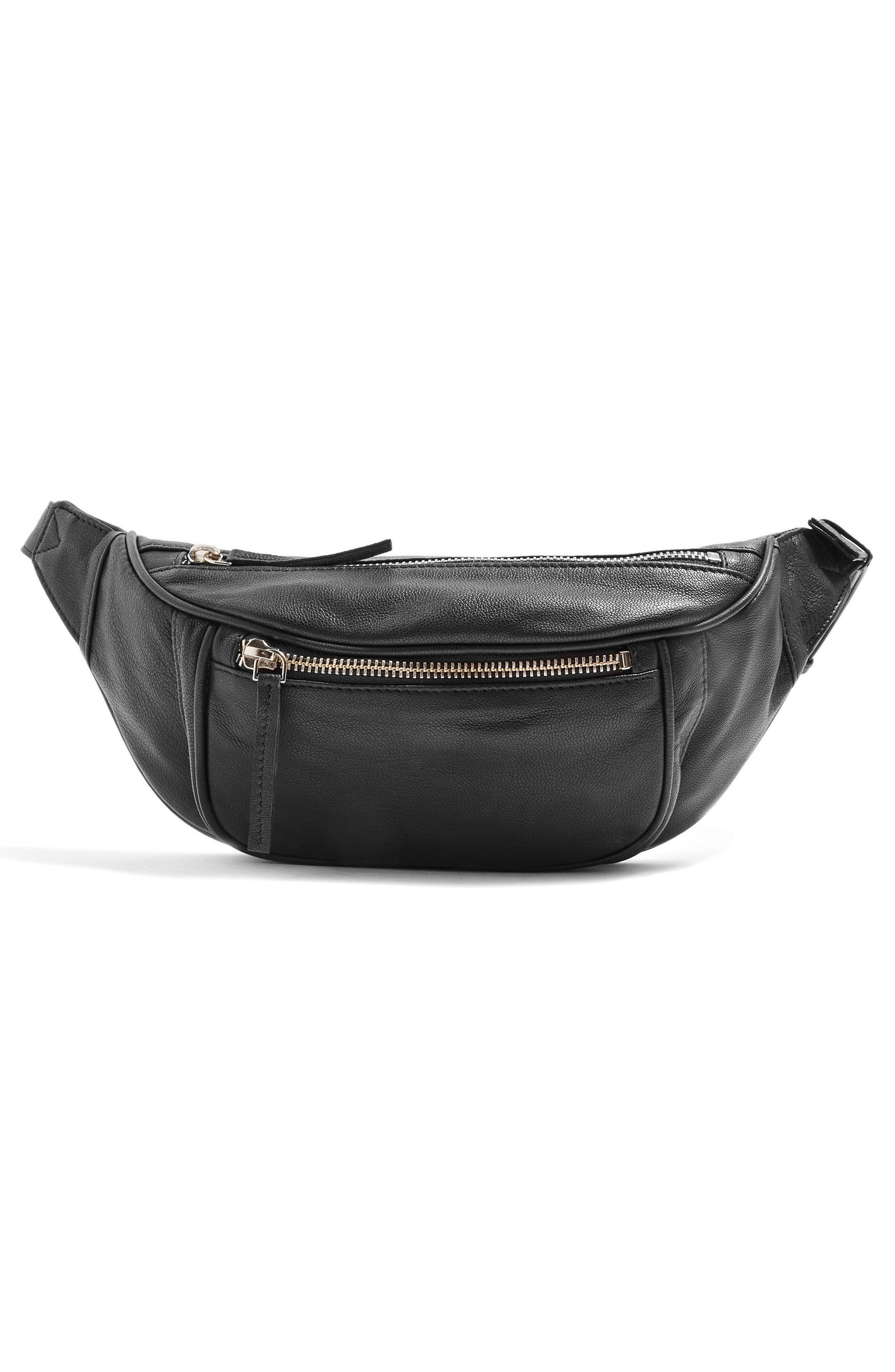 Leather Bumbag,                             Alternate thumbnail 4, color,                             001
