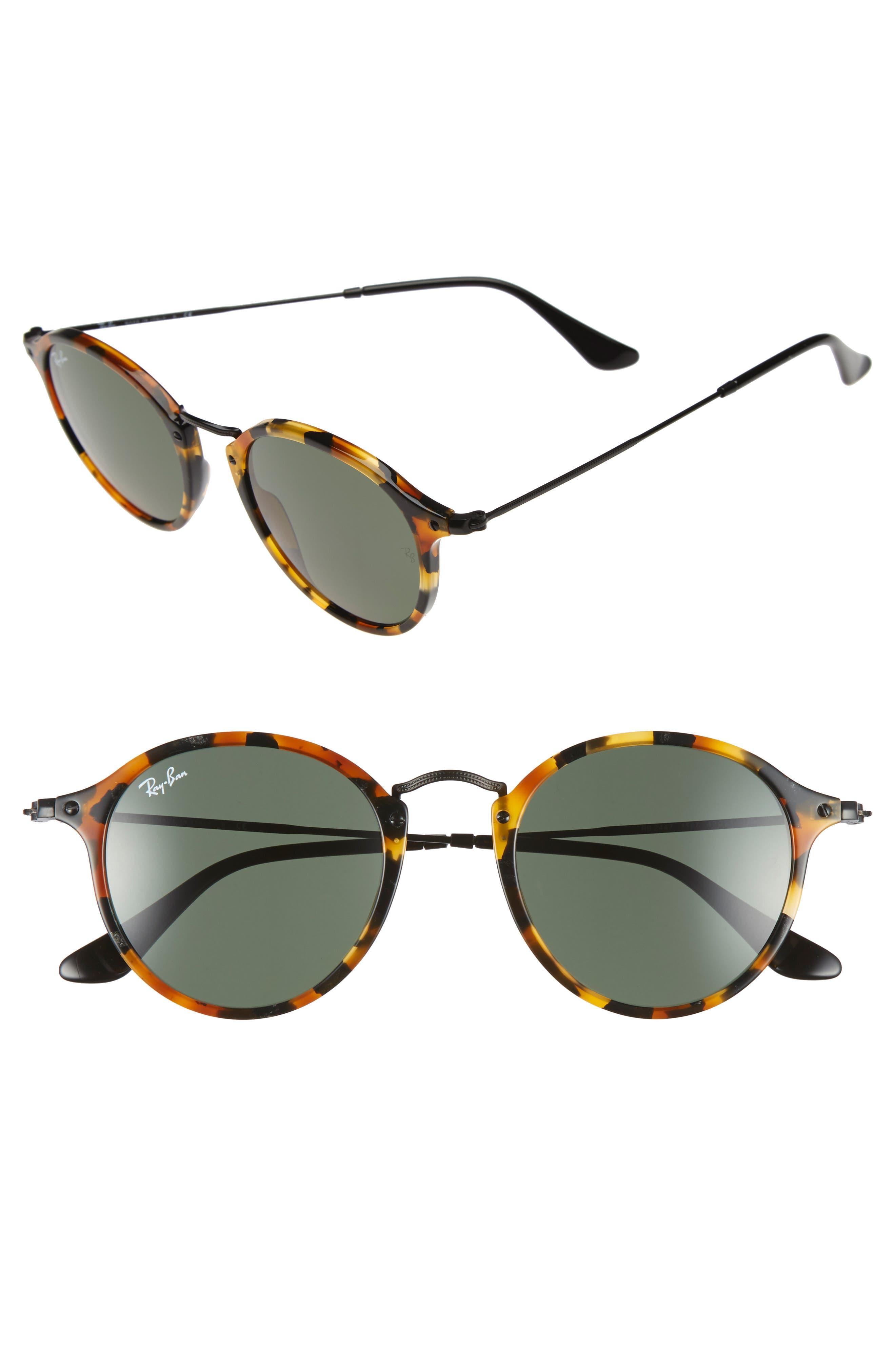 49mm Retro Sunglasses,                         Main,                         color, SPOTTED BLACK HAVANA/ GREEN