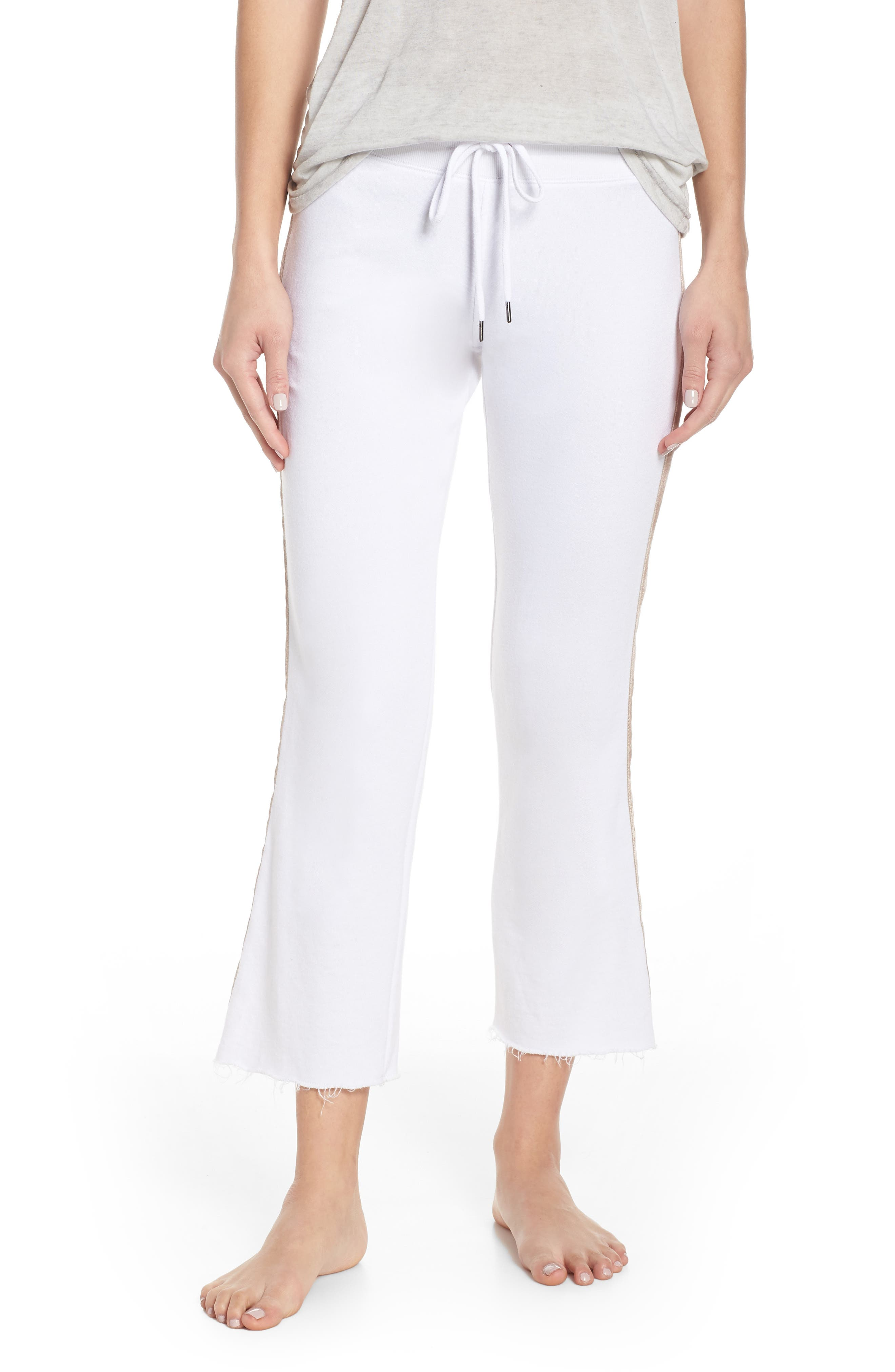 David Lerner Crop Flare Lounge Pants, White