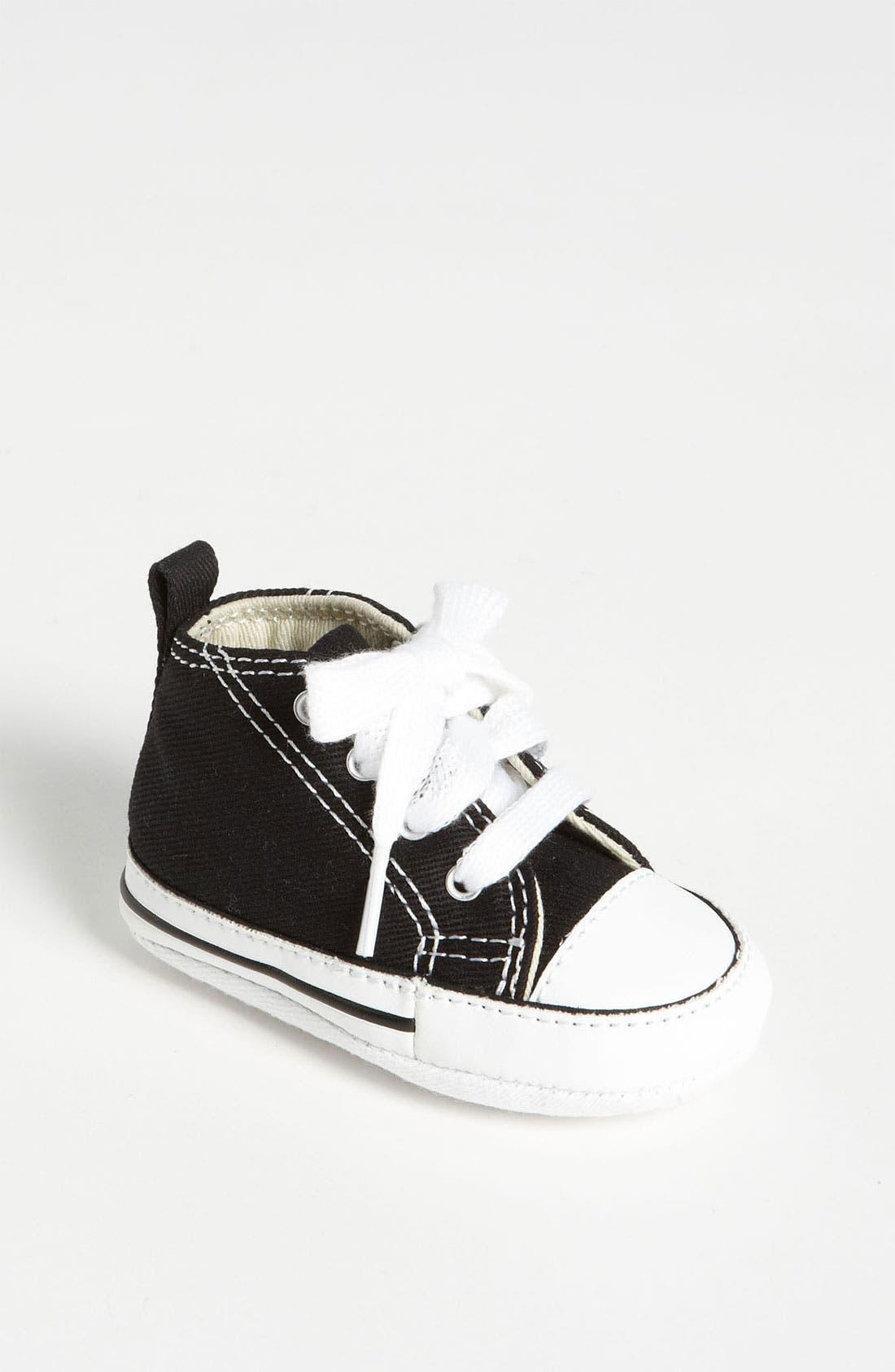 Chuck Taylor<sup>®</sup> Crib Sneaker,                             Main thumbnail 1, color,                             BLACK